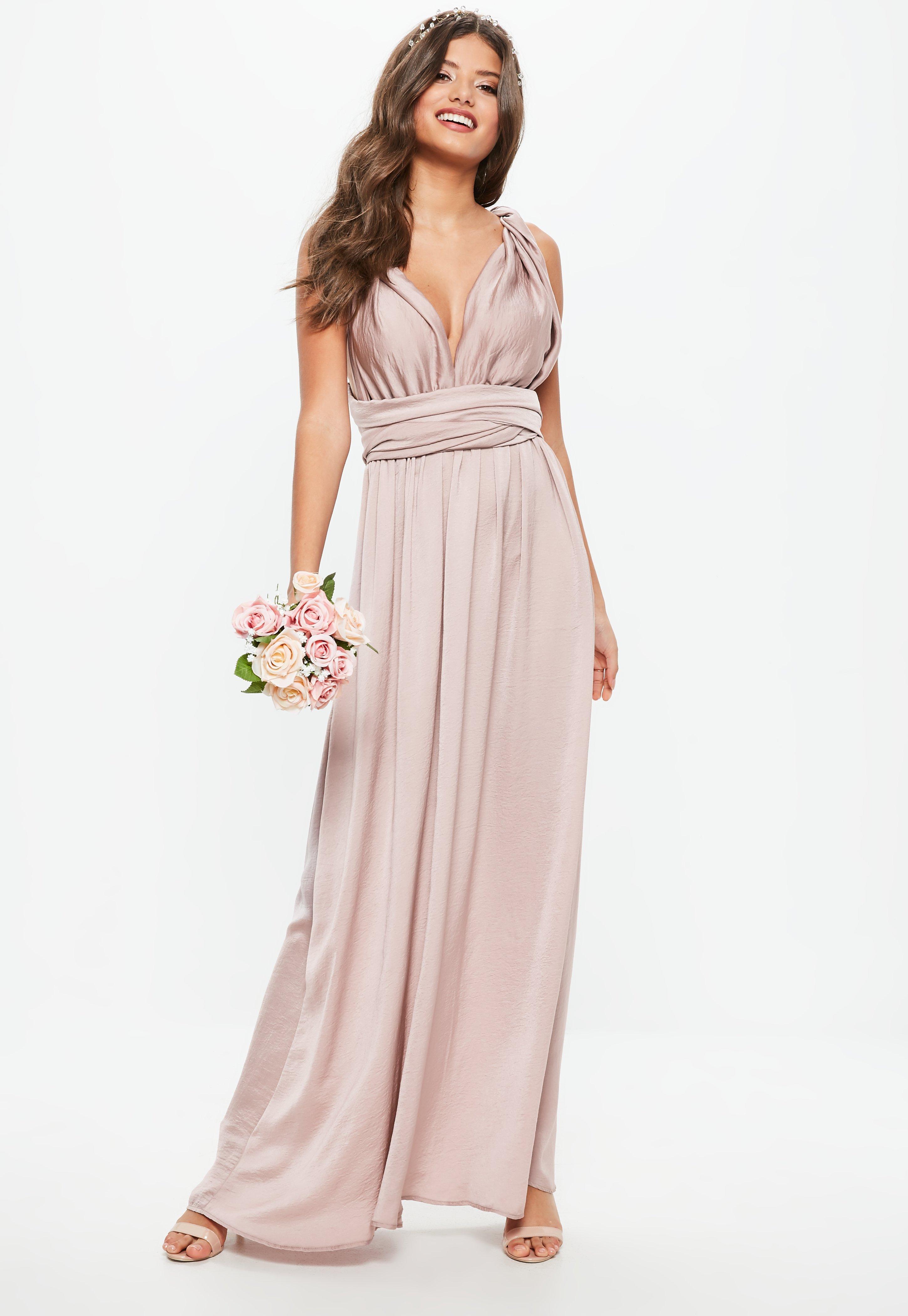 Bridesmaid Pink Satin Multiway Maxi Dress