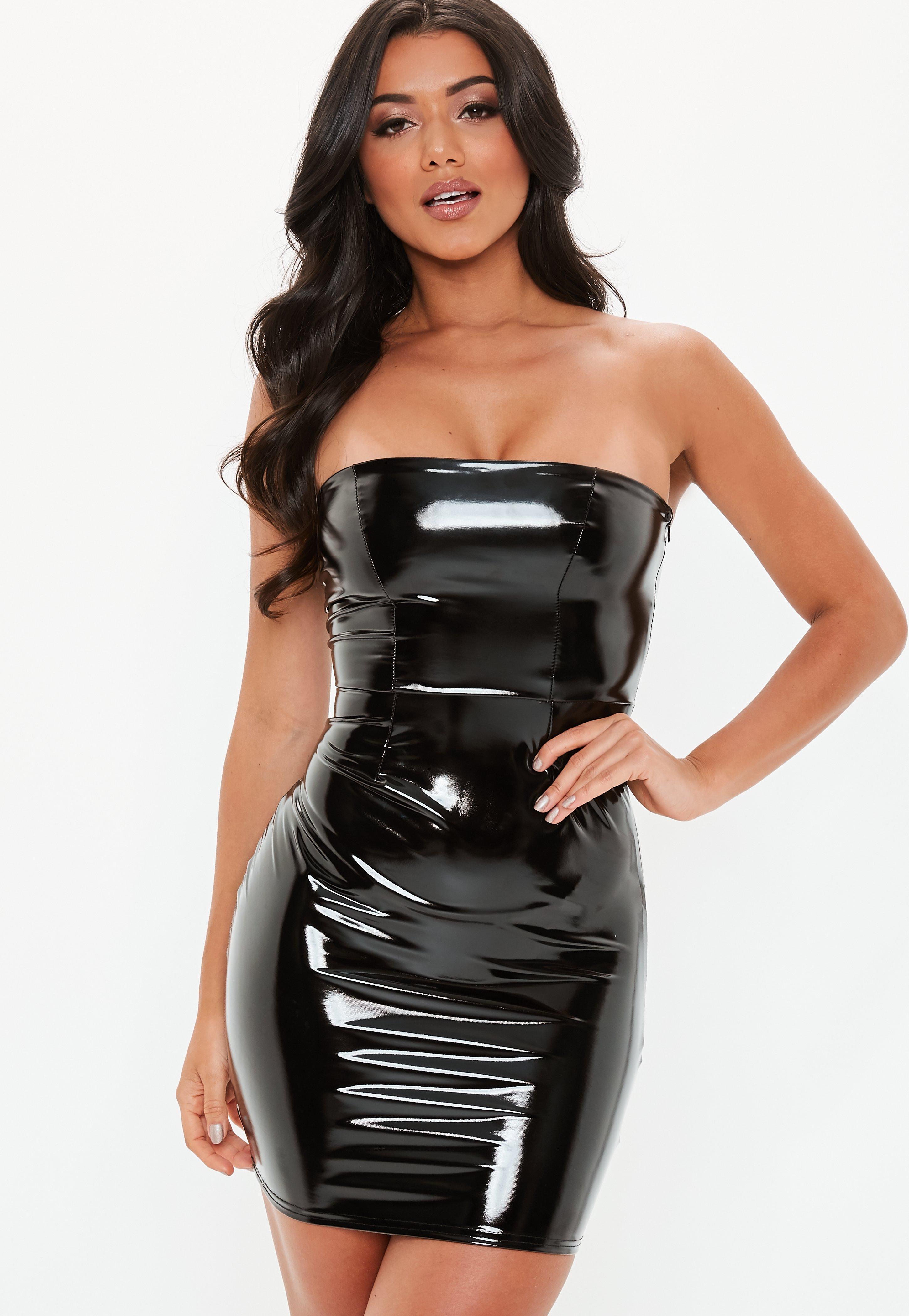 Black Bandeau Vinyl Mini Dress  Missguided
