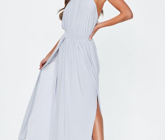 Grey Slinky Halterneck Maxi Dress