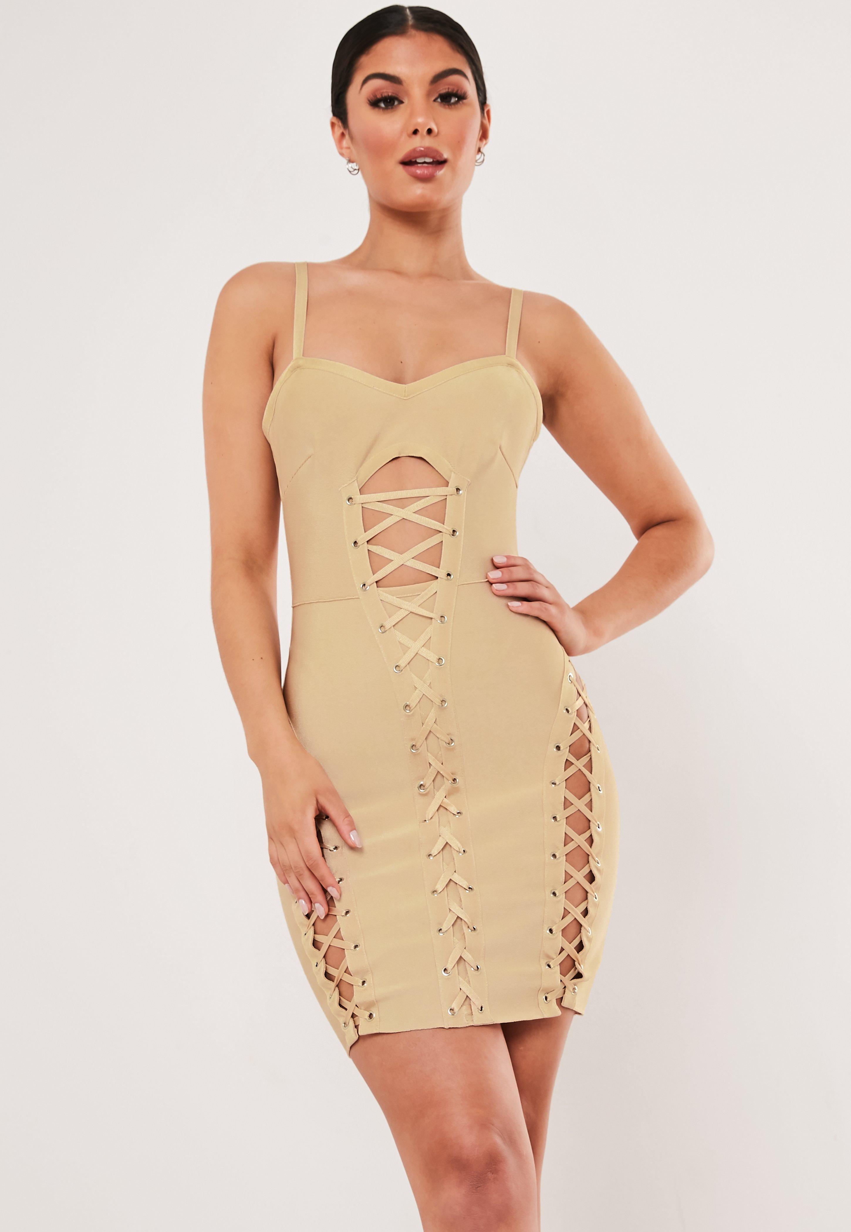premium champagne bandage corset