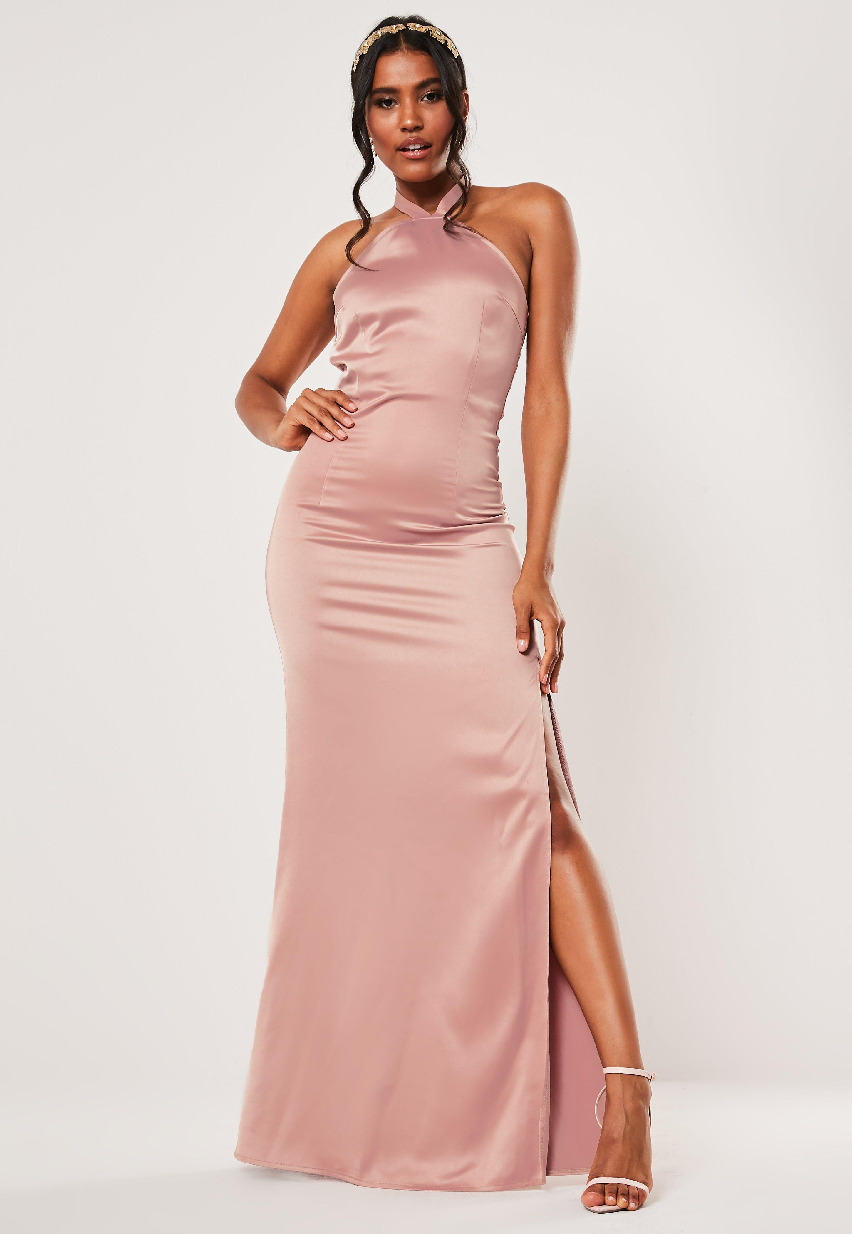 bridesmaid pink halterneck deep