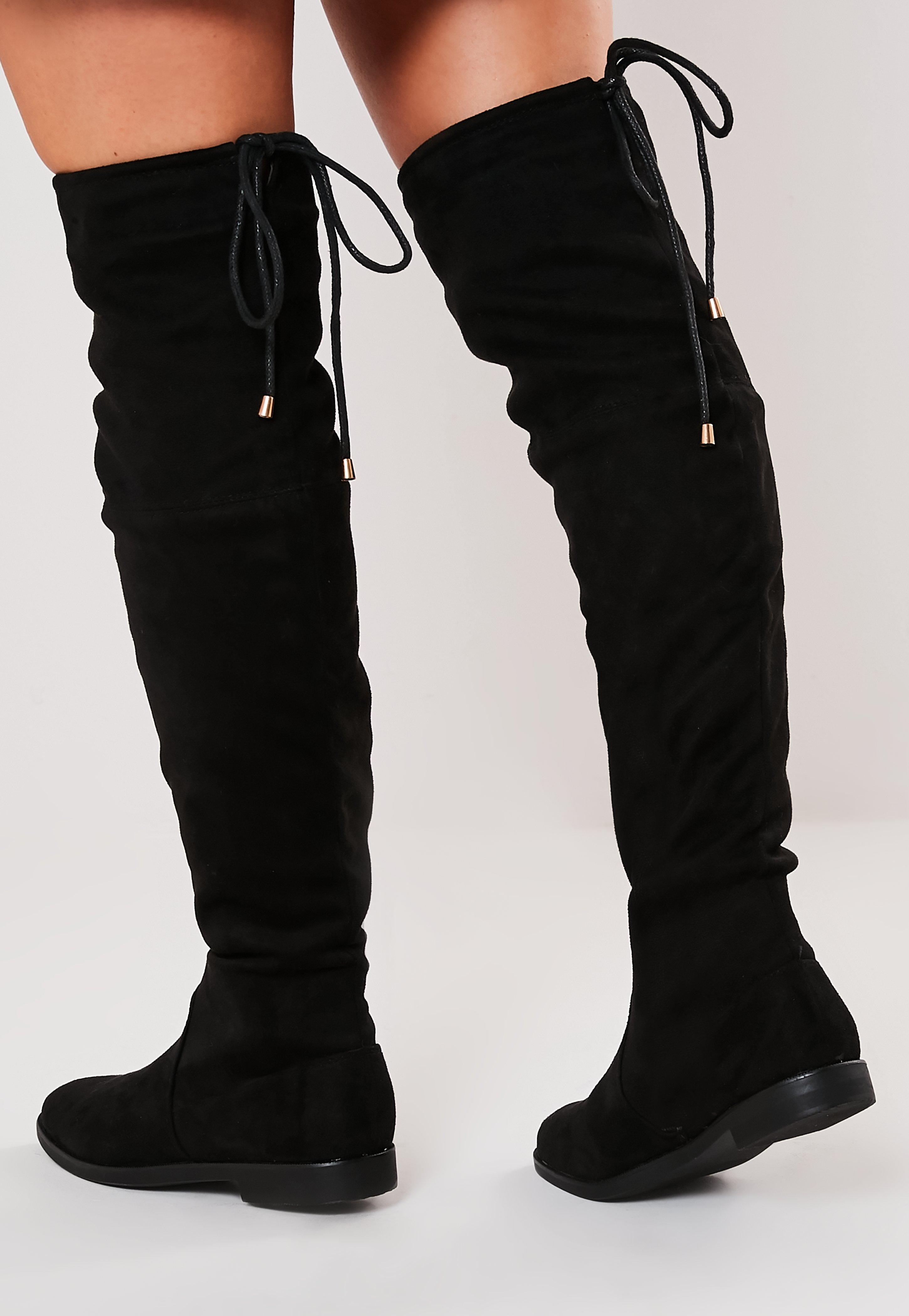 Black Over The Knee Flat Boots  Missguided