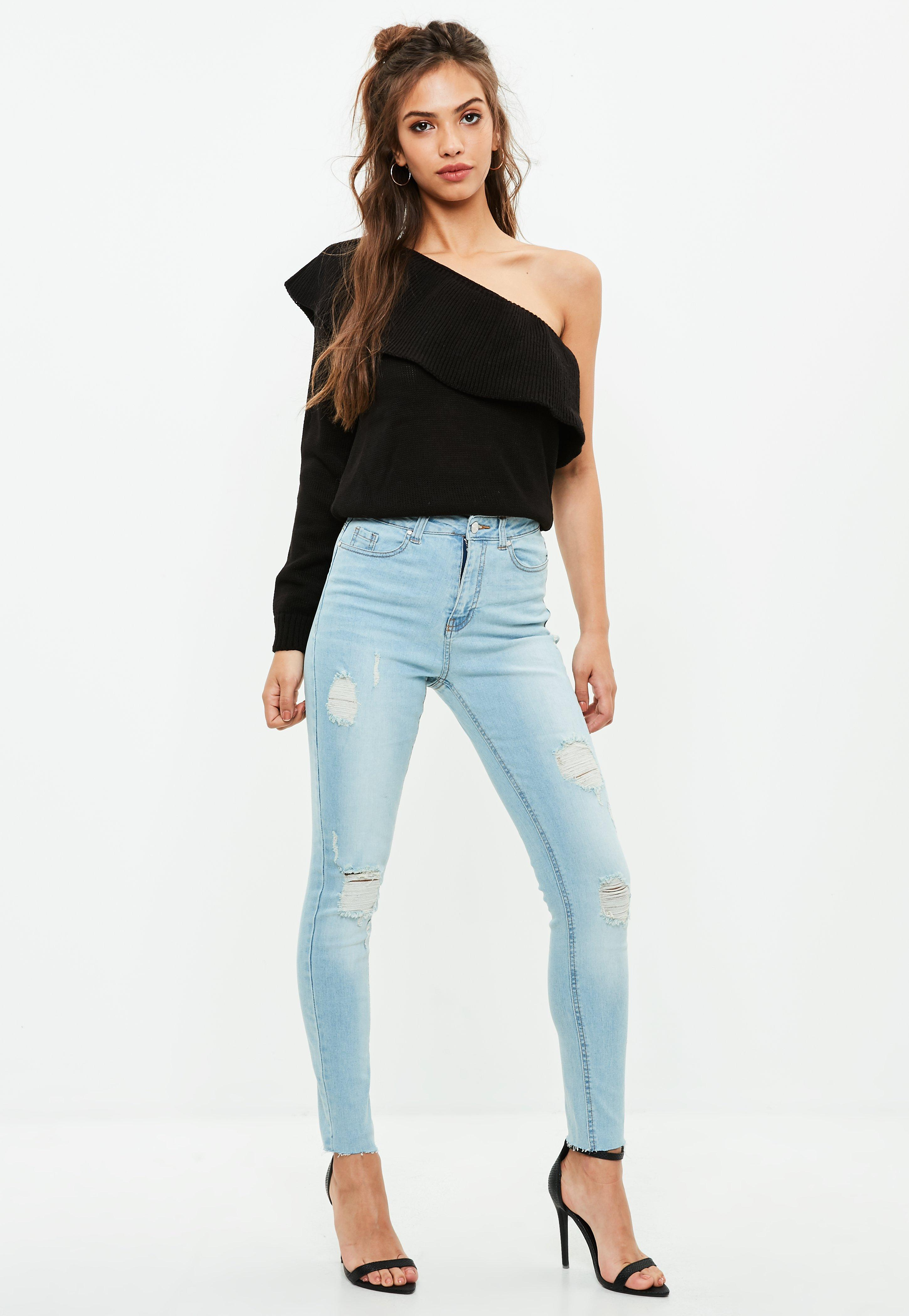 Blue Sinner High Waisted Ripped Skinny Jeans   Missguided Ireland