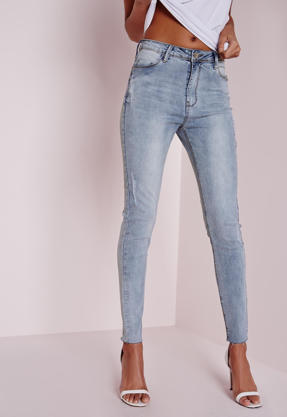Sinner High Waisted Ripped Skinny Jeans Washed Blue   Missguided