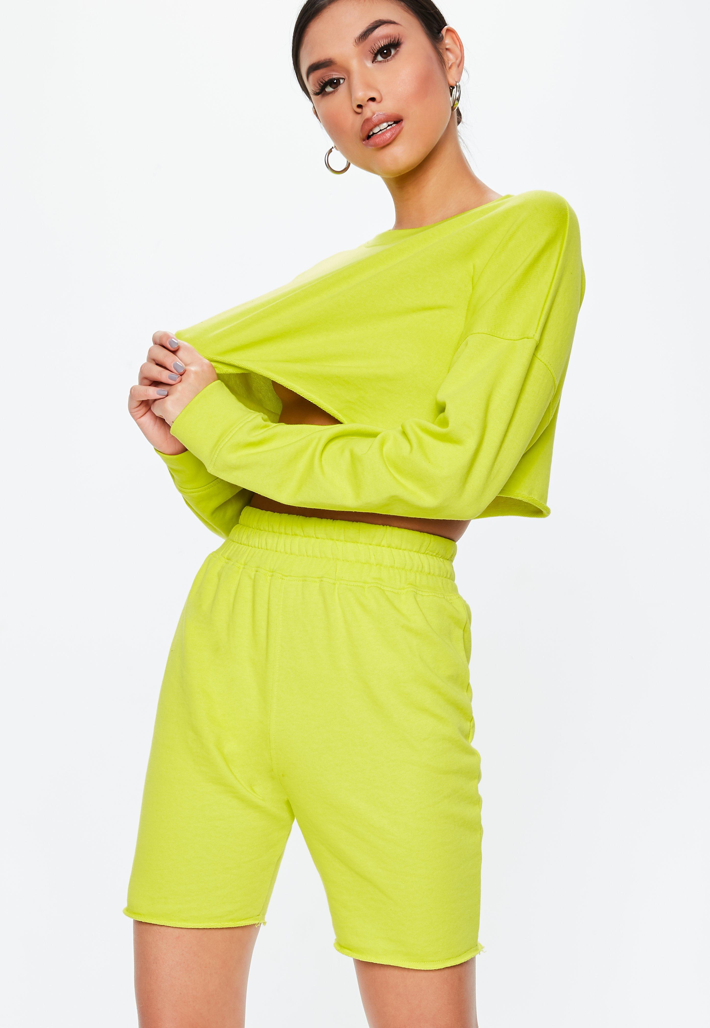 neon lime cropped sweatshirt