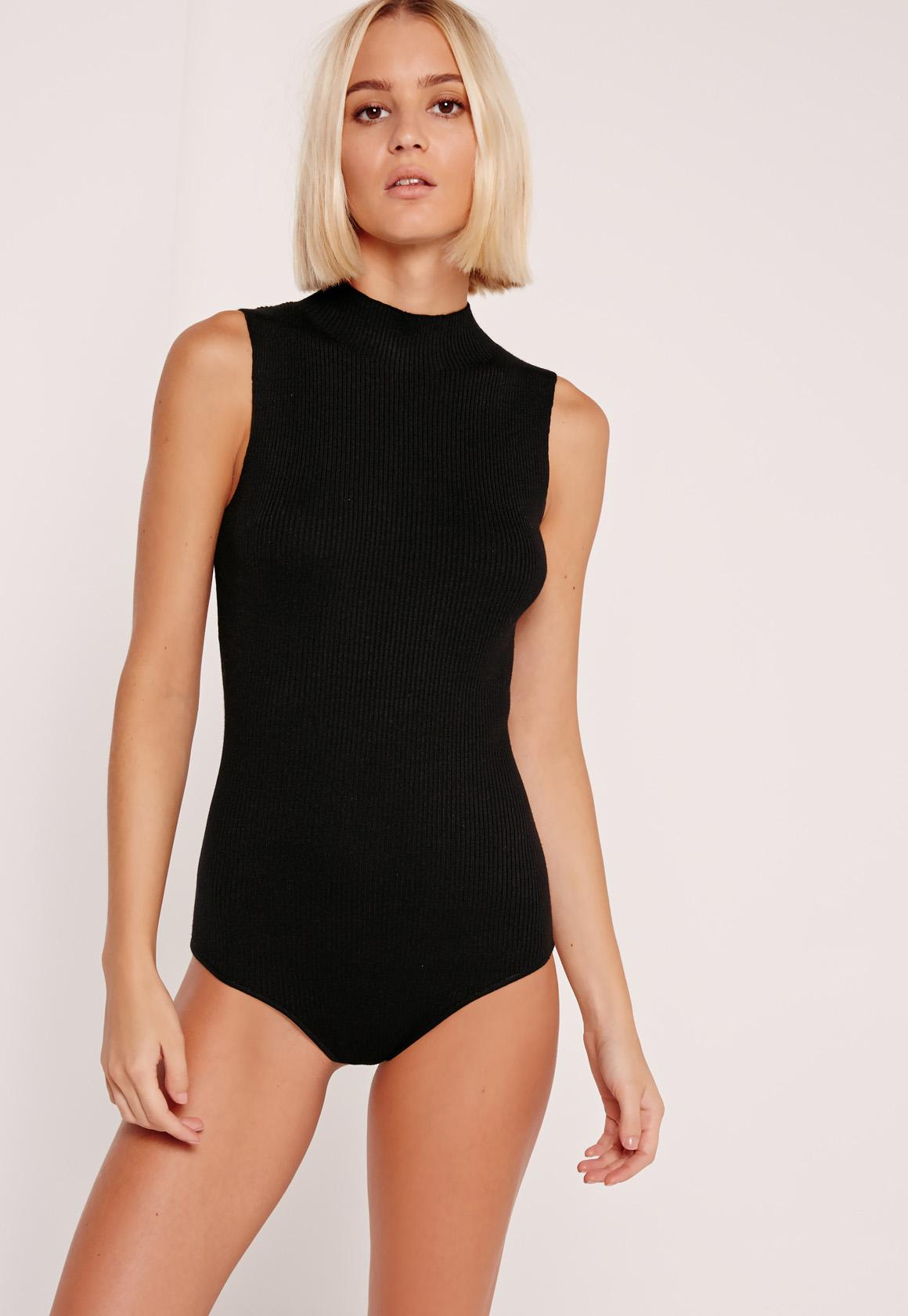 High Neck Sleeveless Bodysuit Black  Missguided