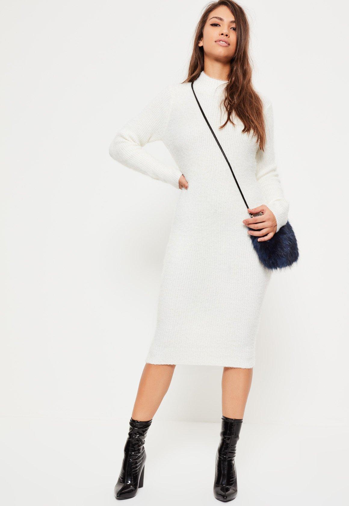 White Fluffy High Neck Midi Sweater Dress