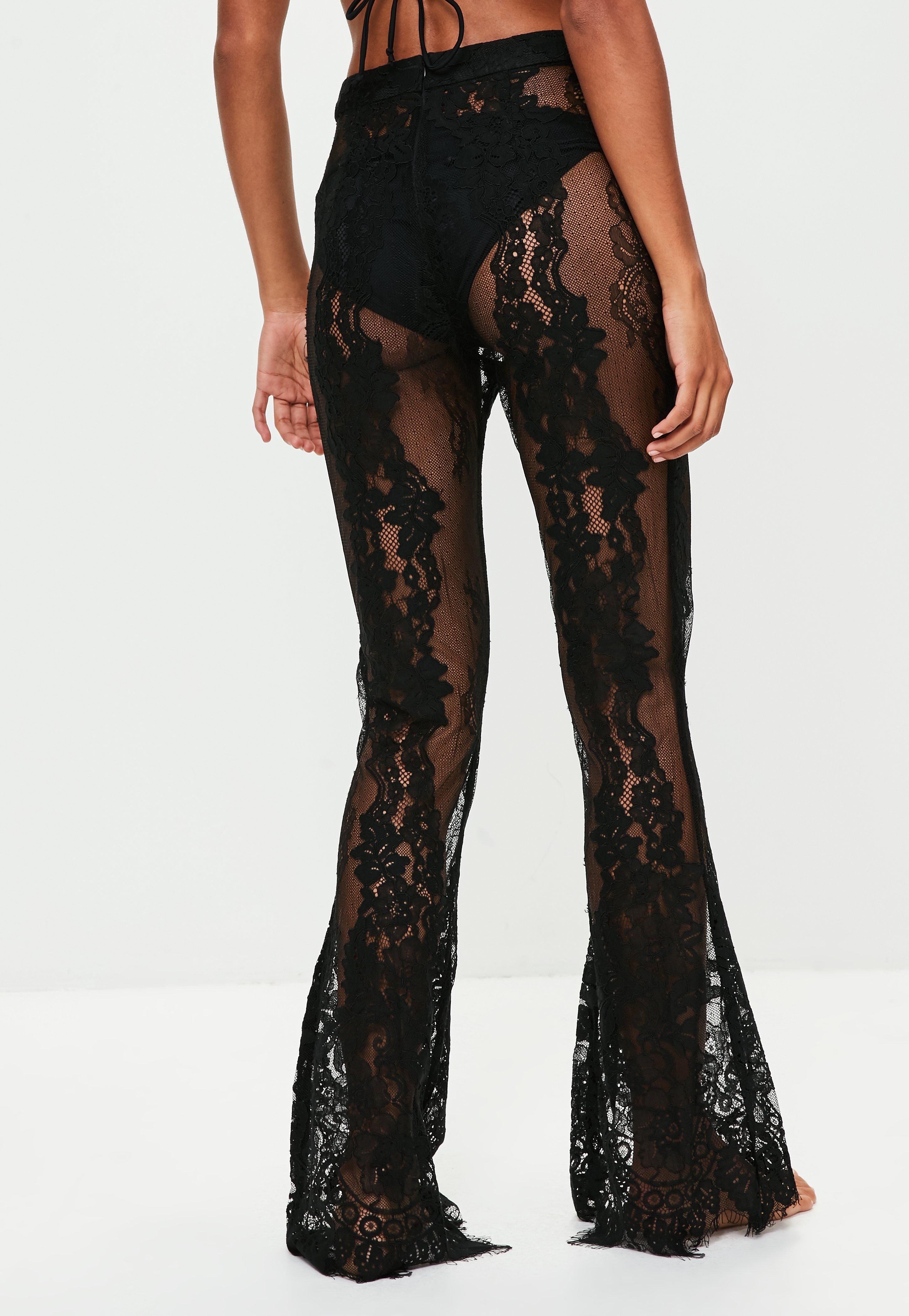 Black Premium Lace Beach Trousers  Missguided