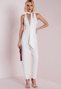 Skinny Neck Tie Jumpsuit White