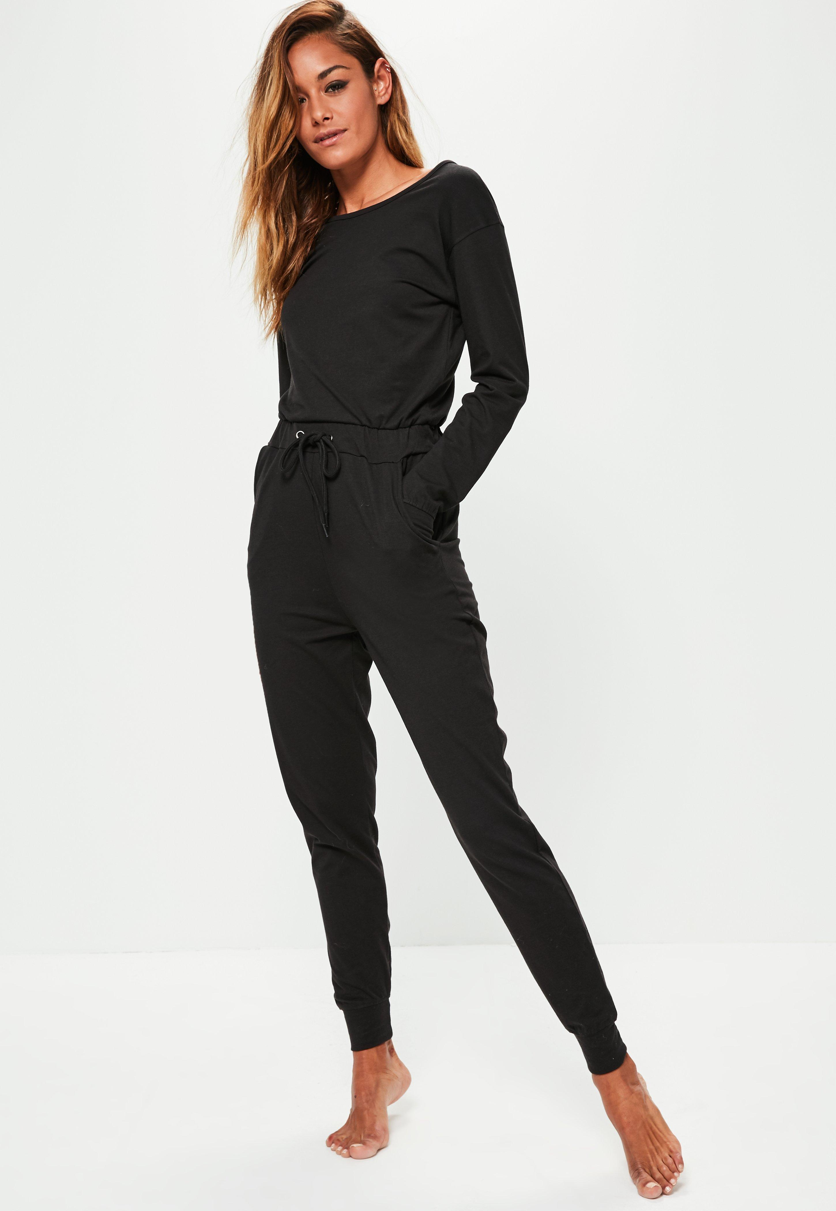 Black Casual Loungewear Jumpsuit  Missguided