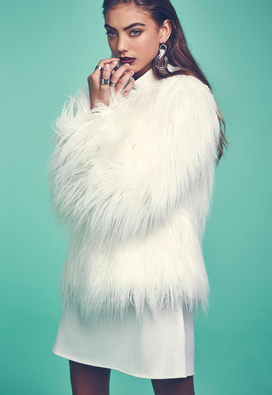 White Fake Fur Coat  Fashion Womens Coat 2017