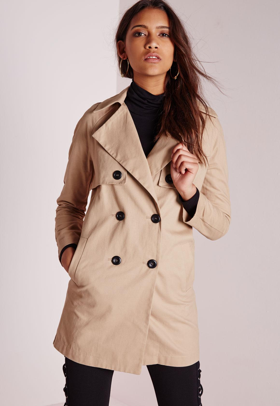 Double Breasted Trench Coat Stone  Missguided Australia
