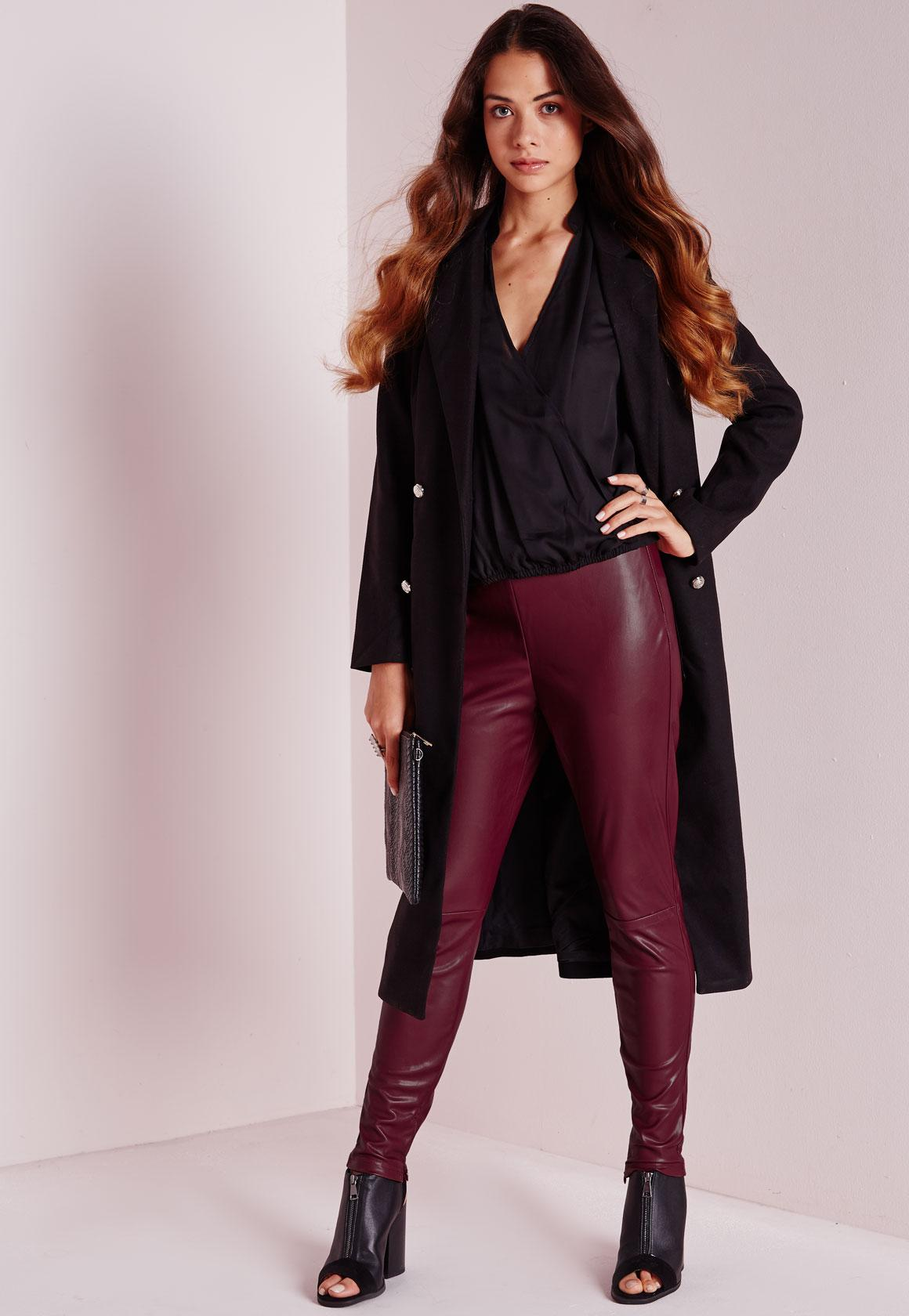 Faux Leather Ankle Zip Pants Burgundy  Missguided