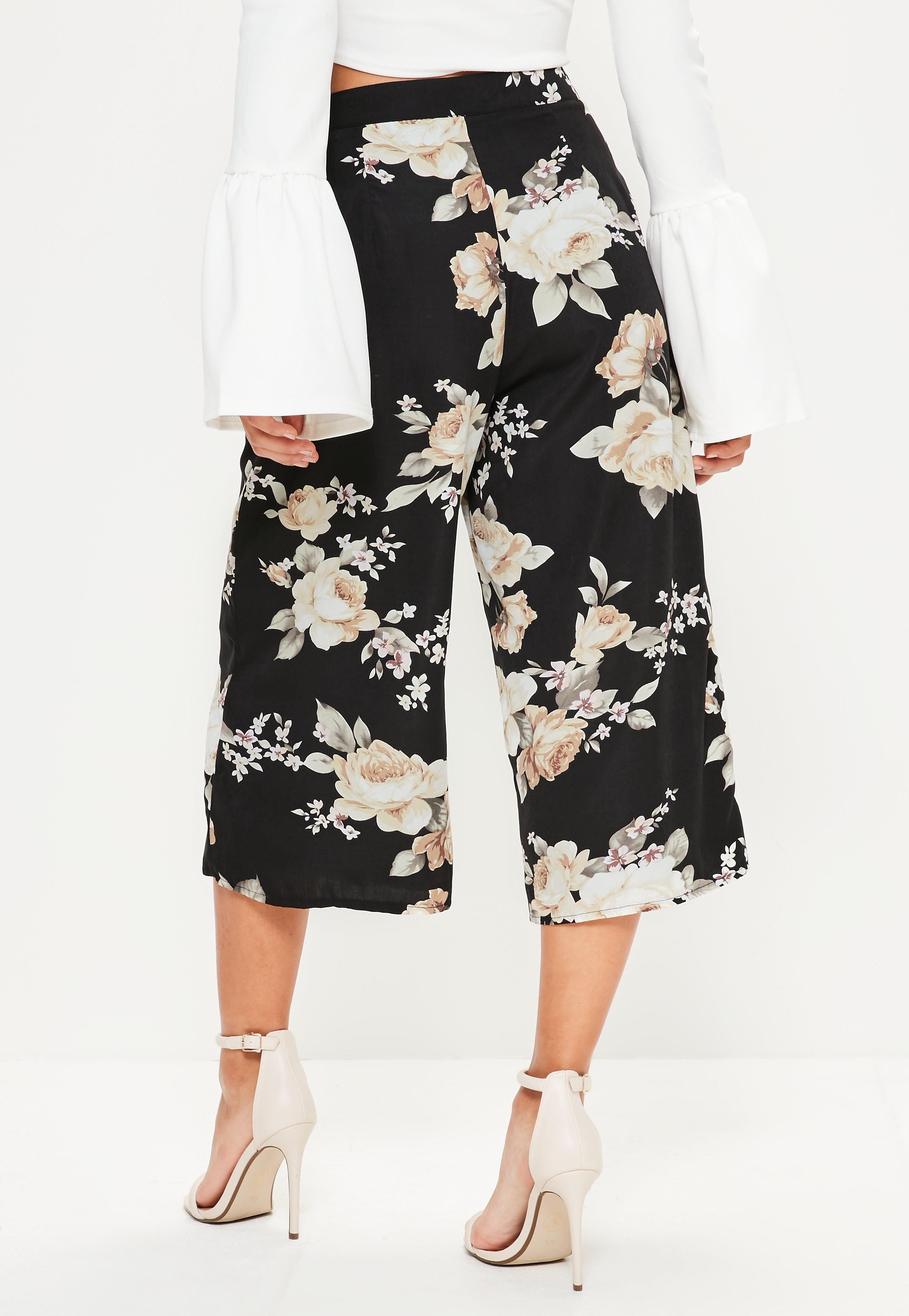 Black Floral Print Culottes  Missguided