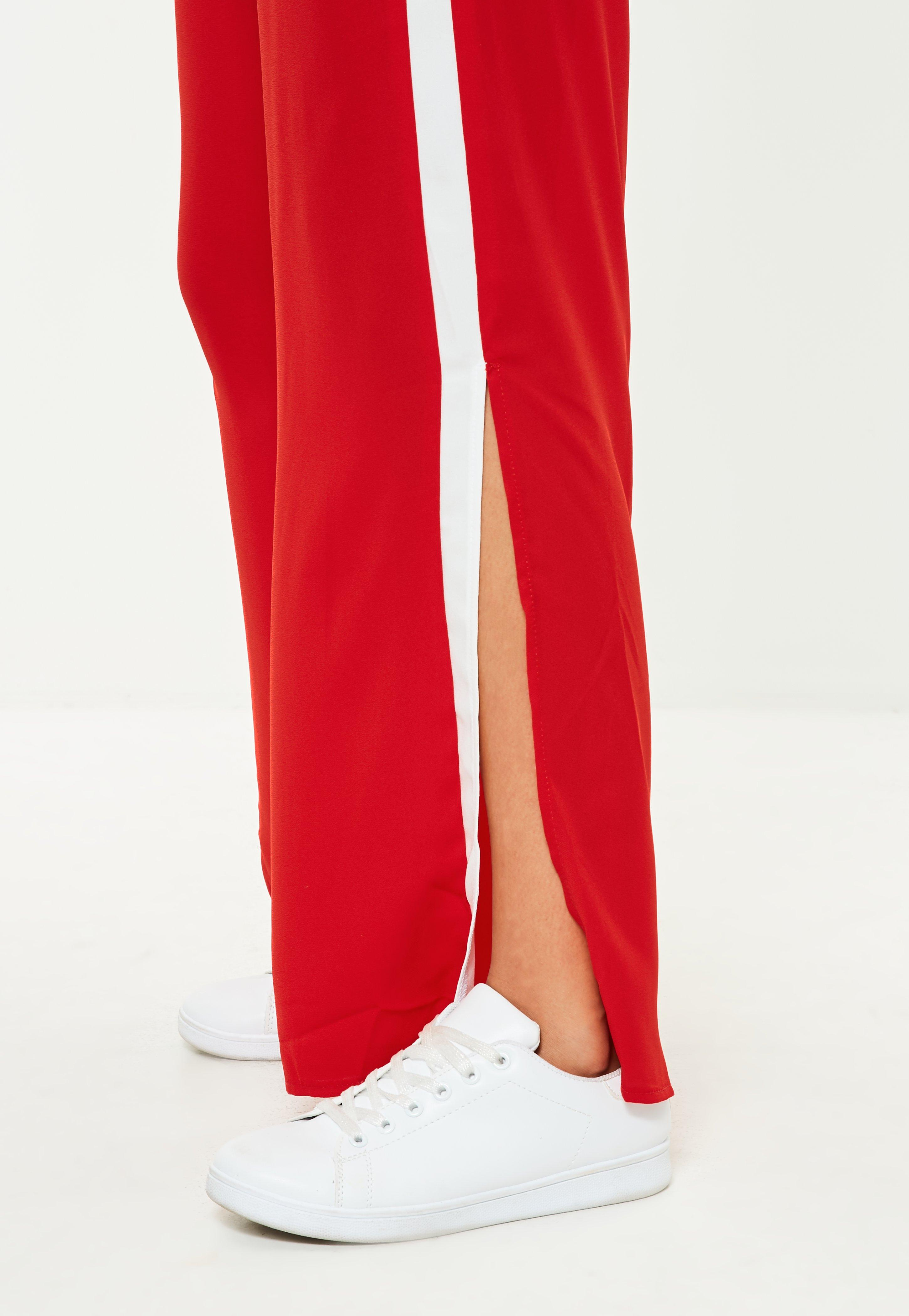 Red Side Stripe Wide Leg Joggers  Missguided