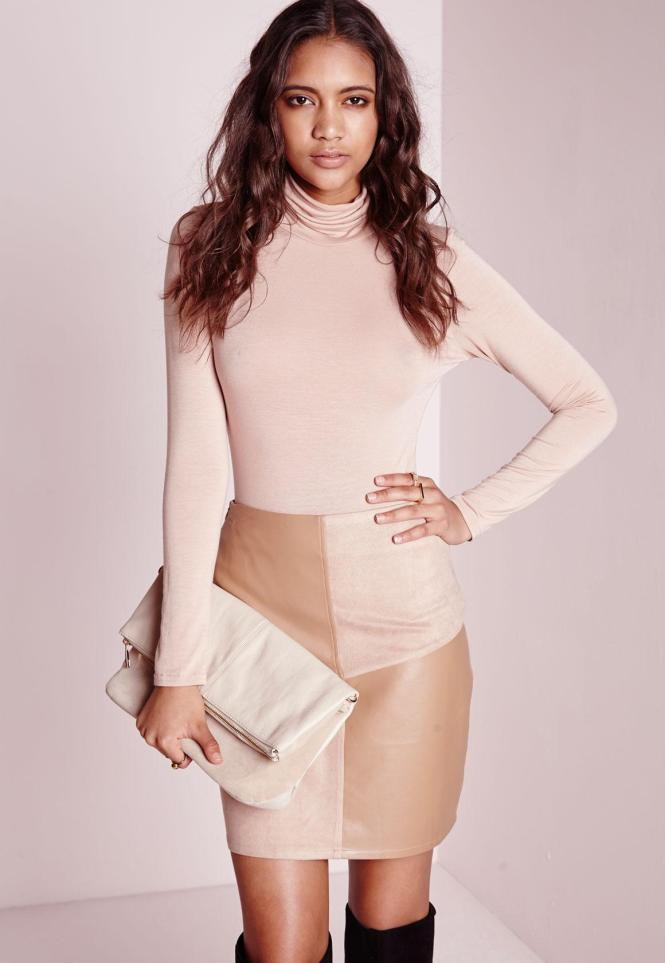 Taupe Leather Skirt - Skirts