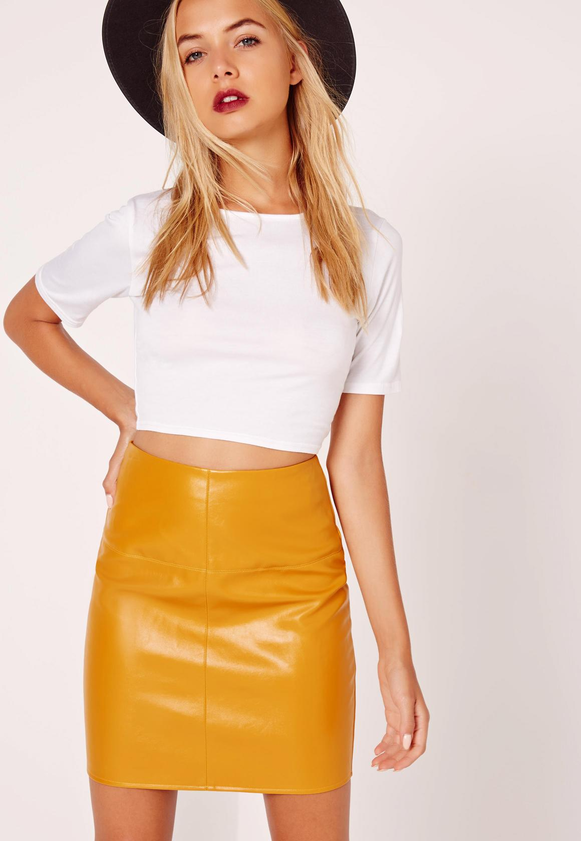 Faux Leather Mini Skirt Yellow Missguided