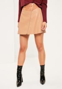 Tan Faux Leather Zip Detail A-Line Skirt | Missguided