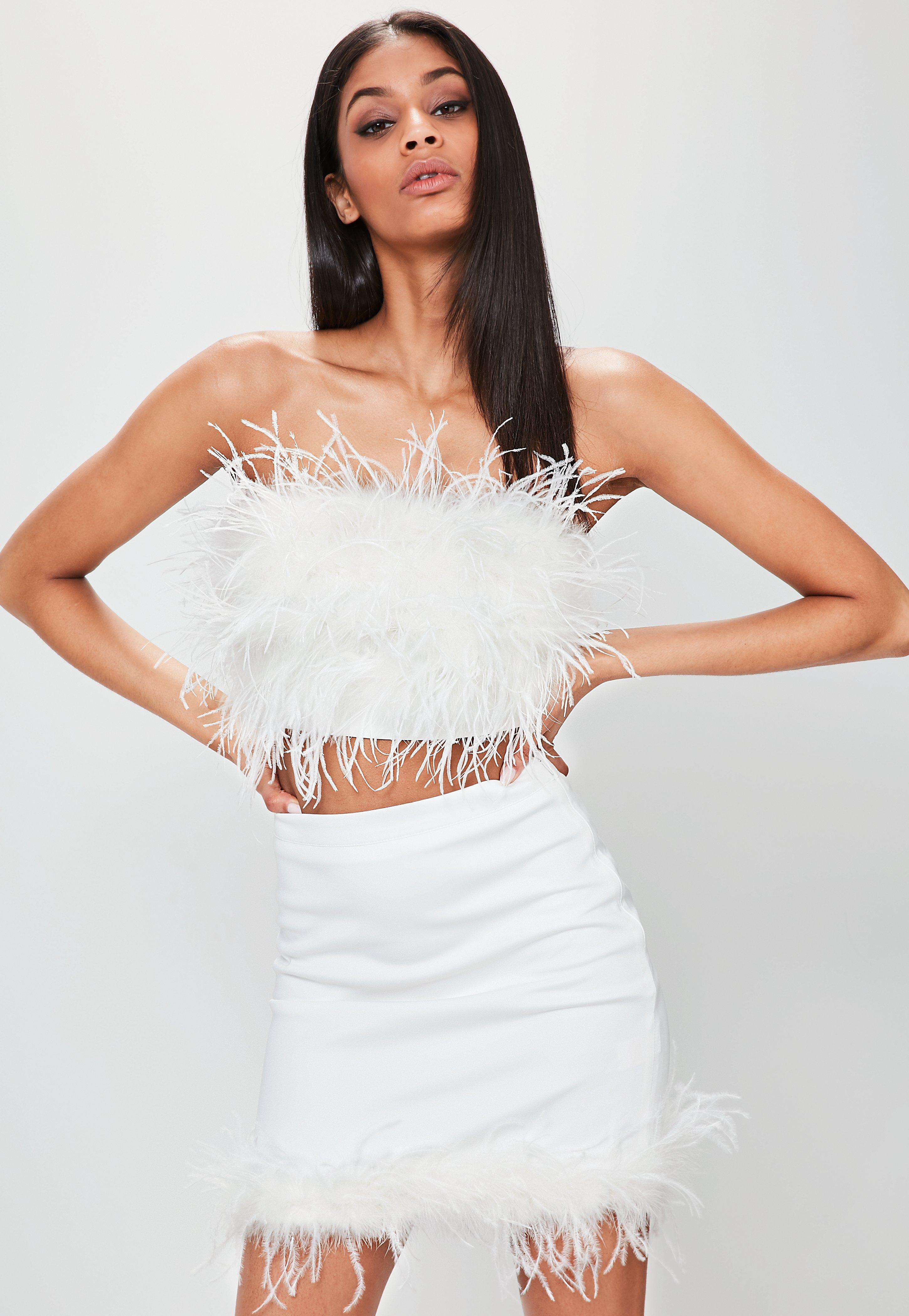 White Feather Hem Mini Skirt Missguided
