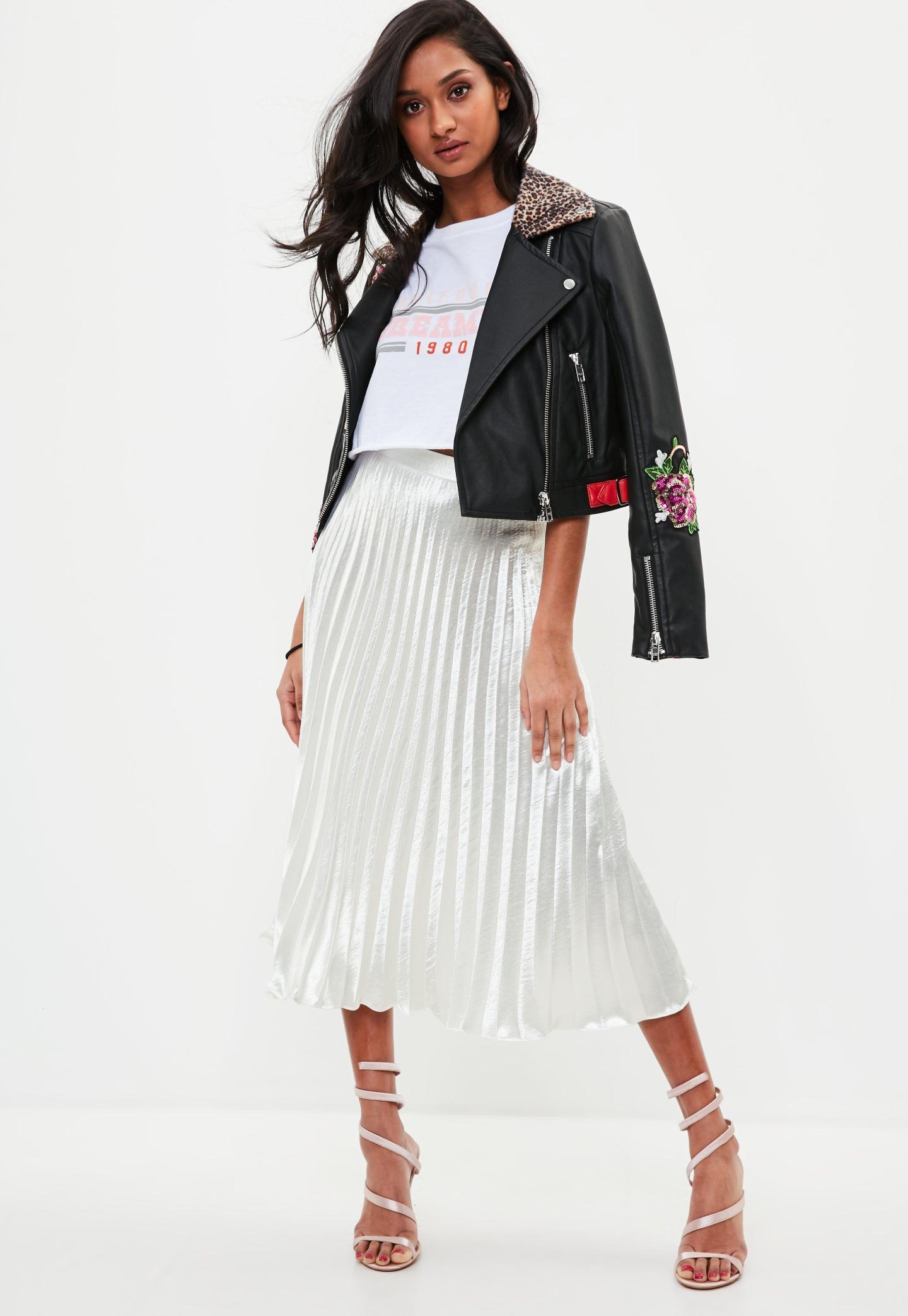 white pleated full midi skirt