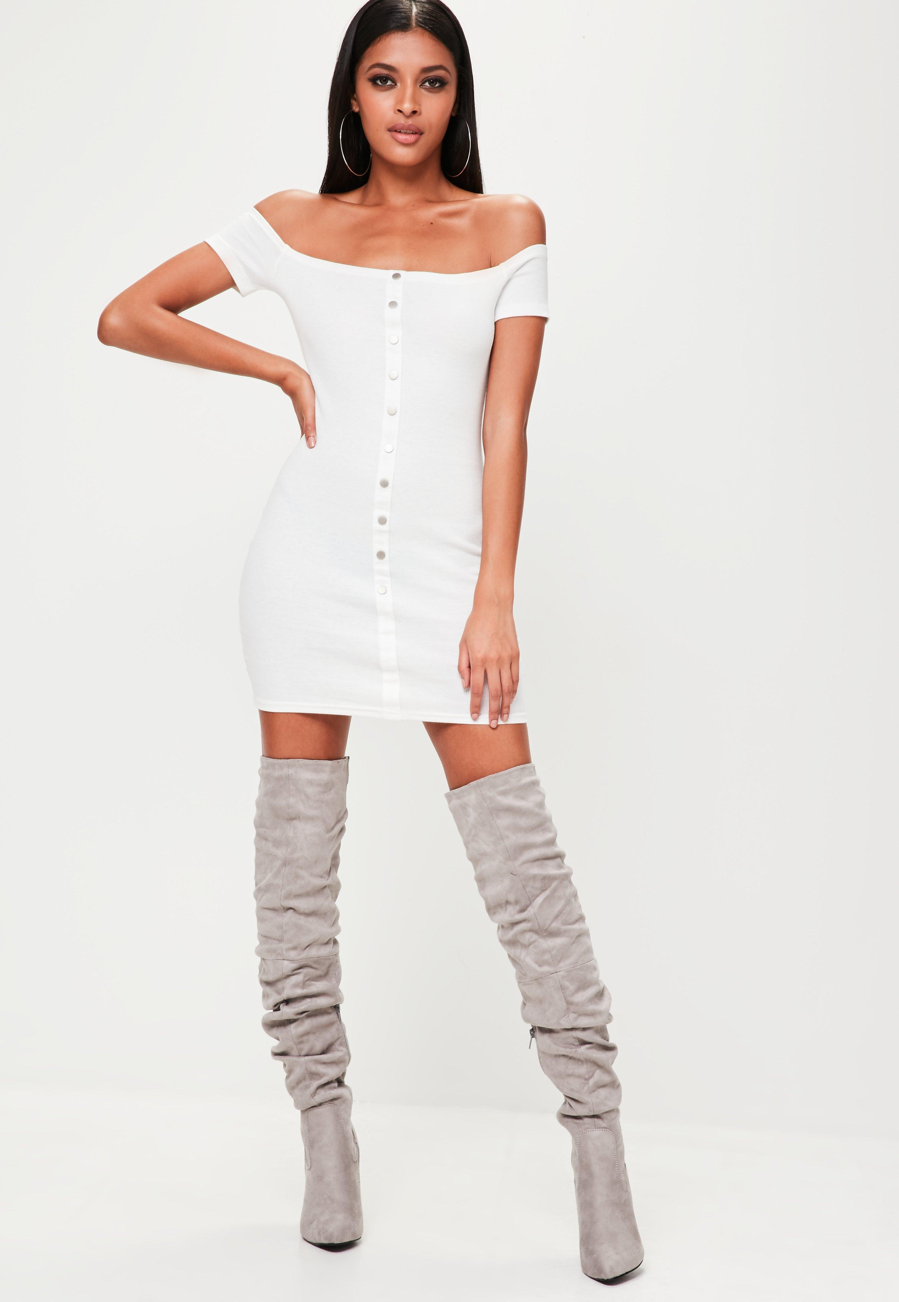White Button Front Bardot Bodycon Dress Missguided