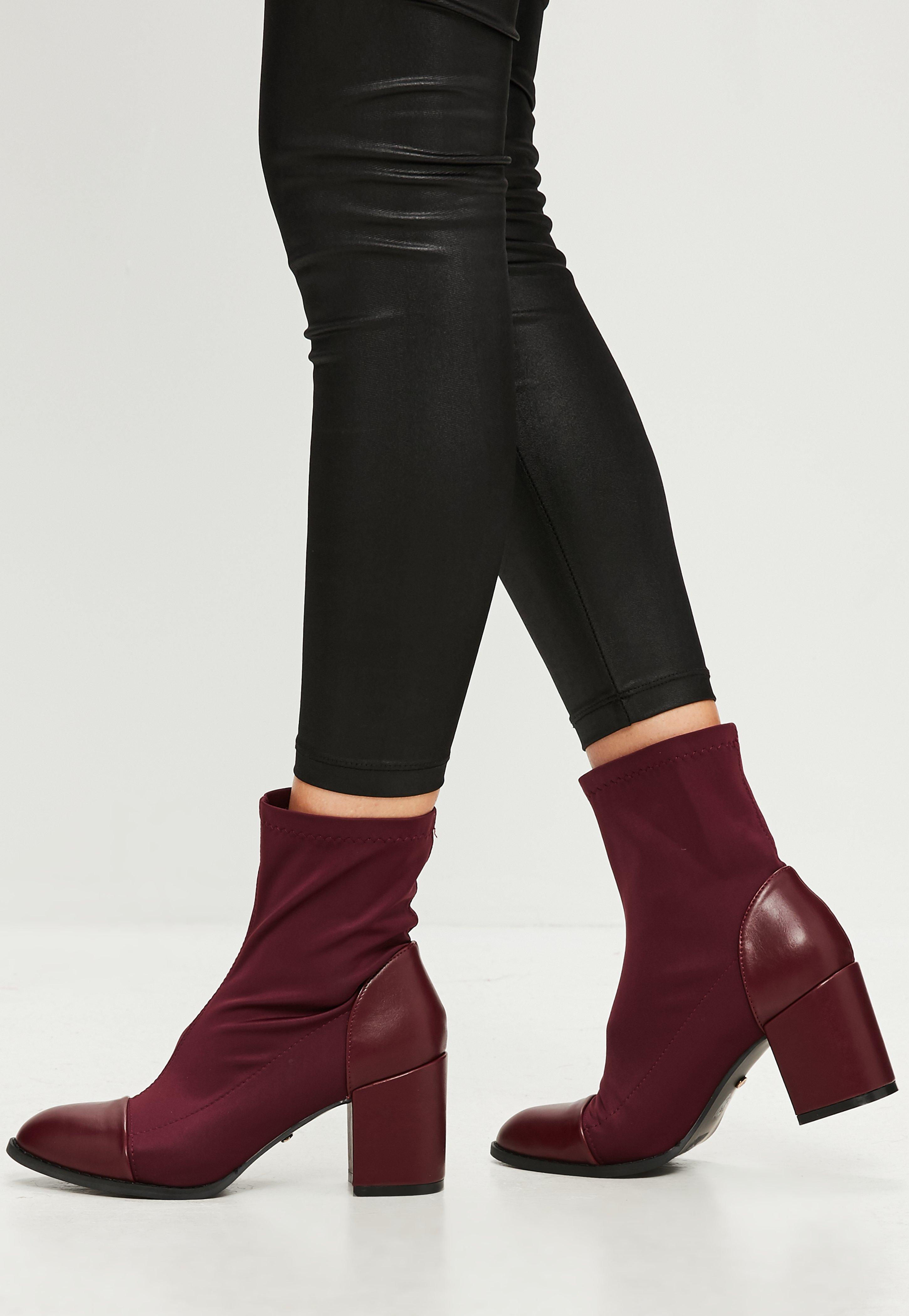 Burgundy Block Heel Ankle Sock Boots  Missguided