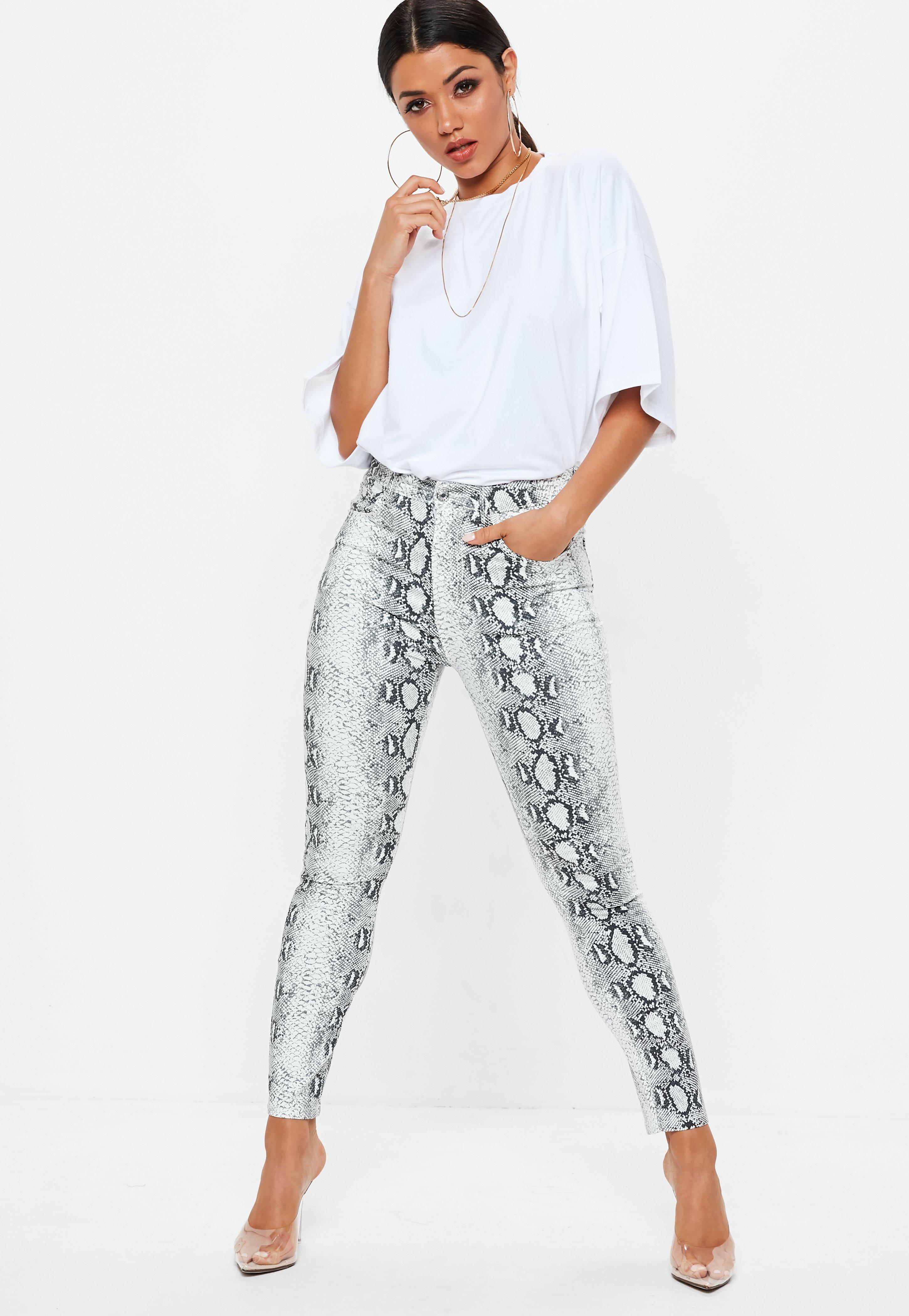Grey Snake Print Skinny Jeans Missguided