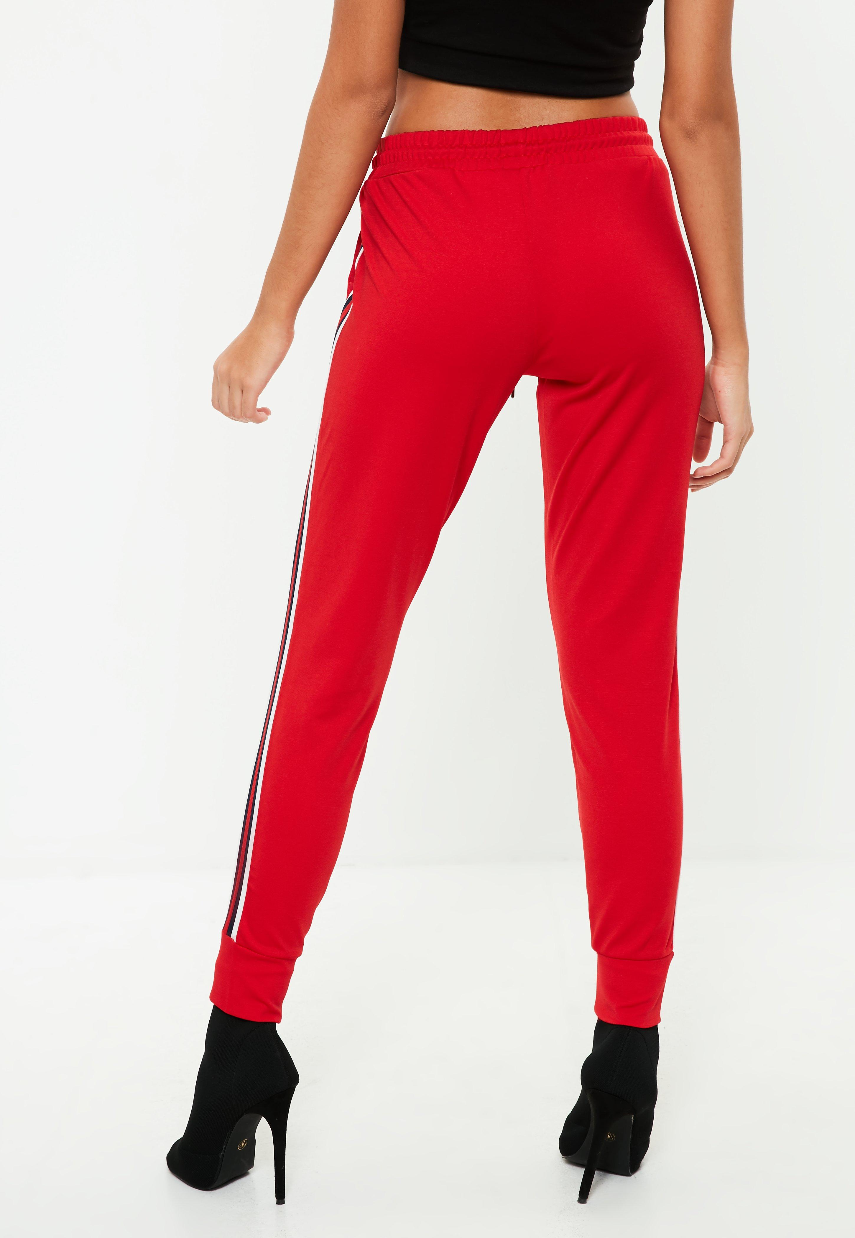 Red Side Stripe Joggers  Missguided