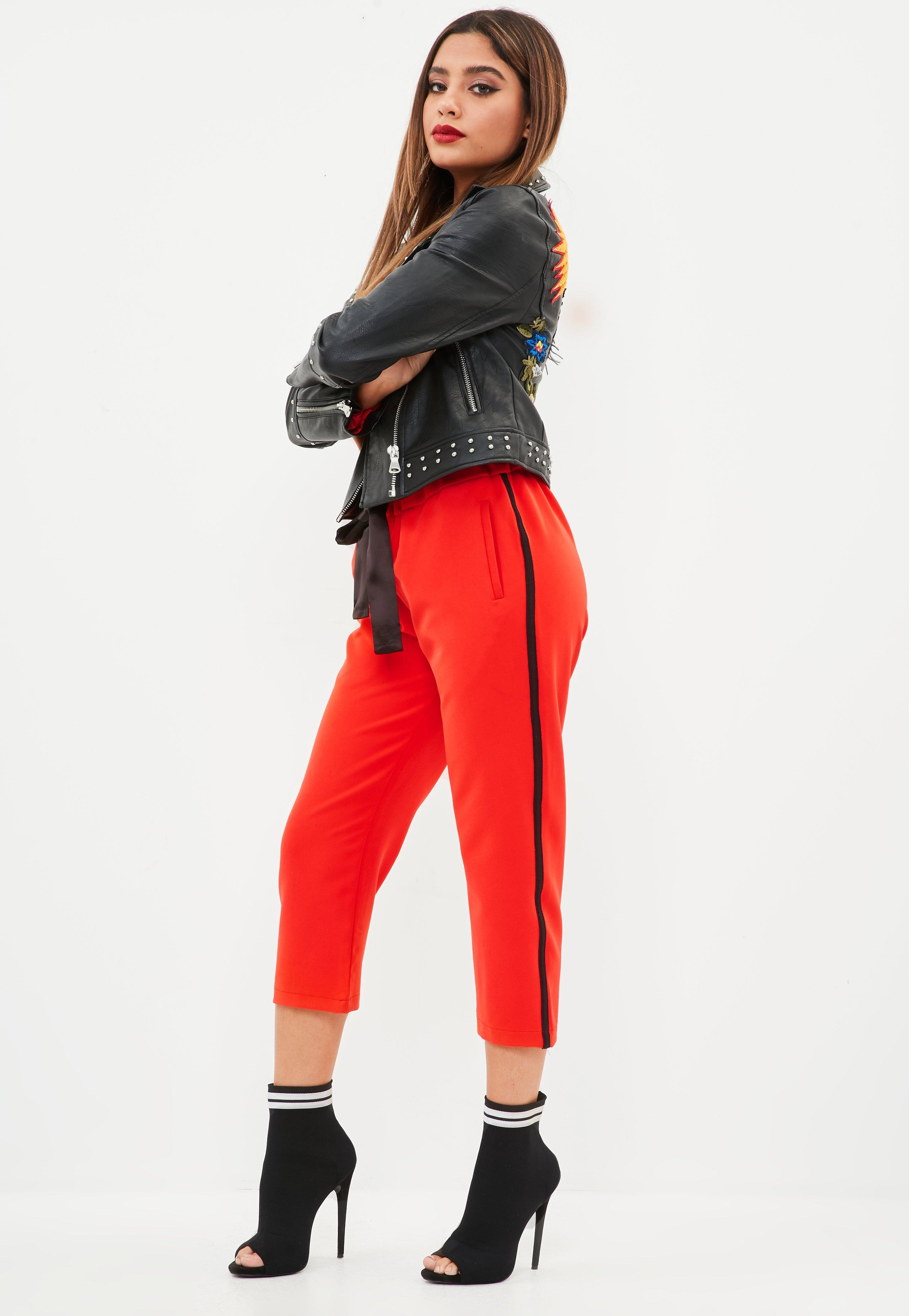 Red Side Stripe Pants  Missguided