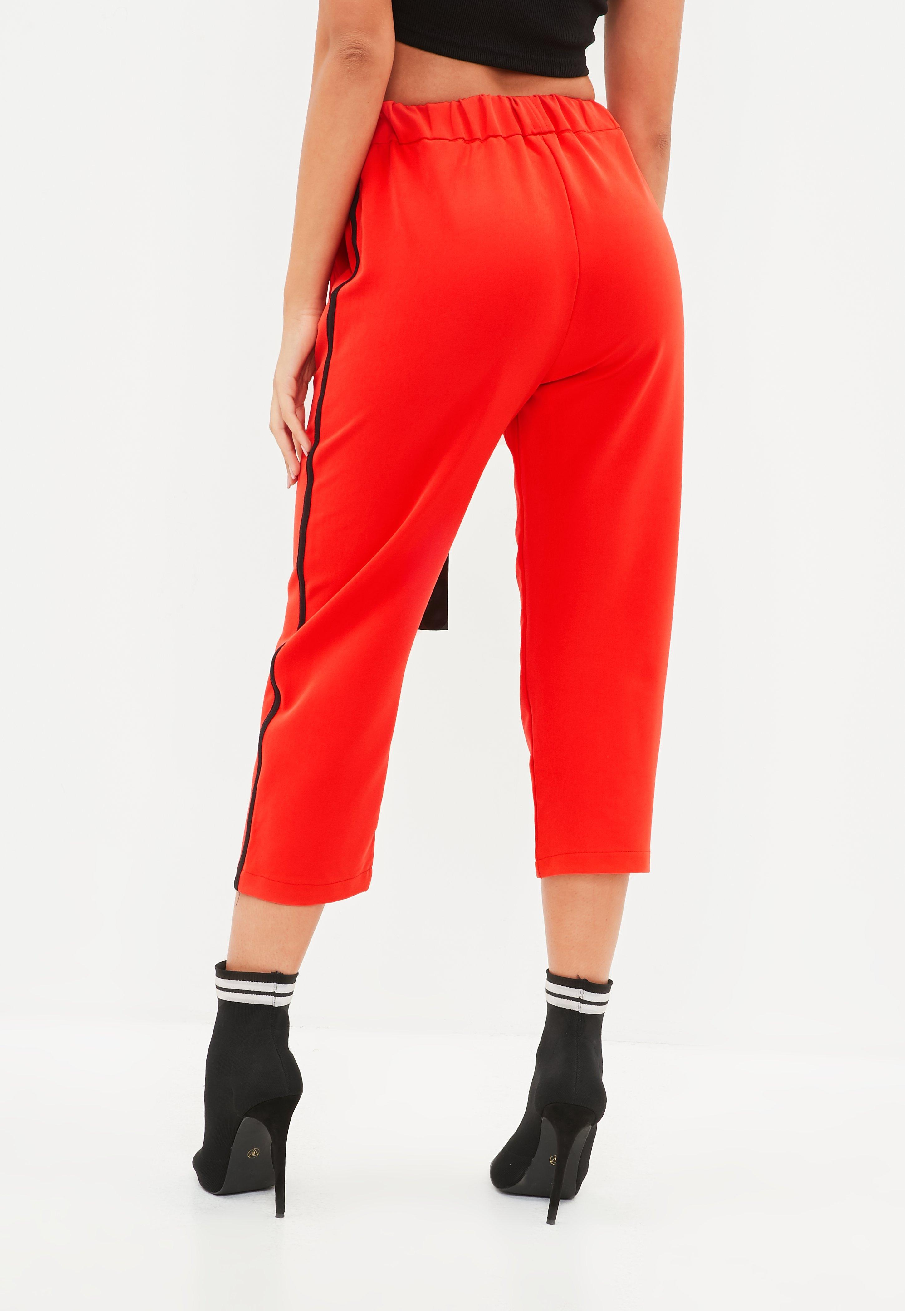 Red Side Stripe Trousers  Missguided