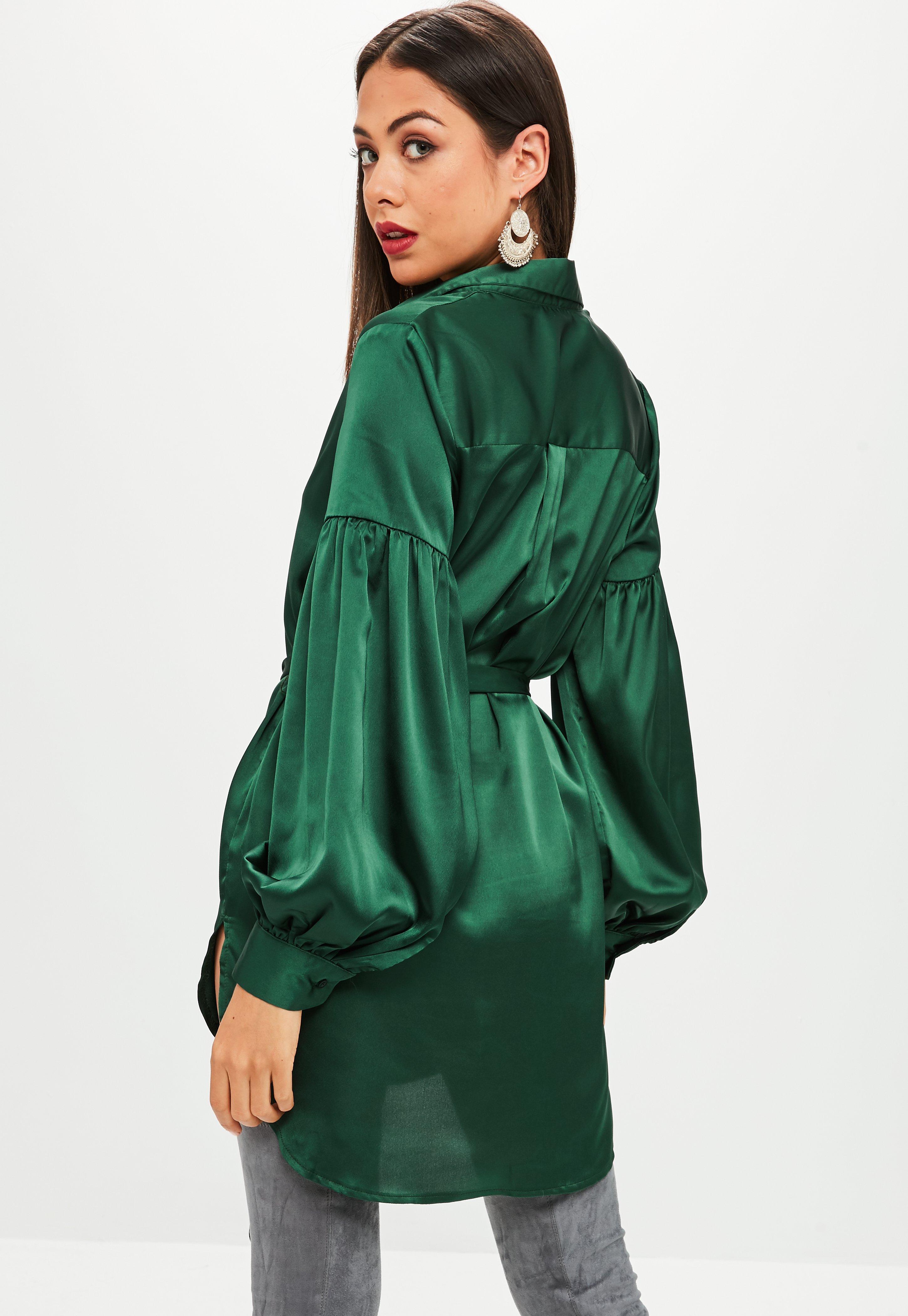 Green Satin Puff Sleeve Shirt Dress  Missguided Ireland