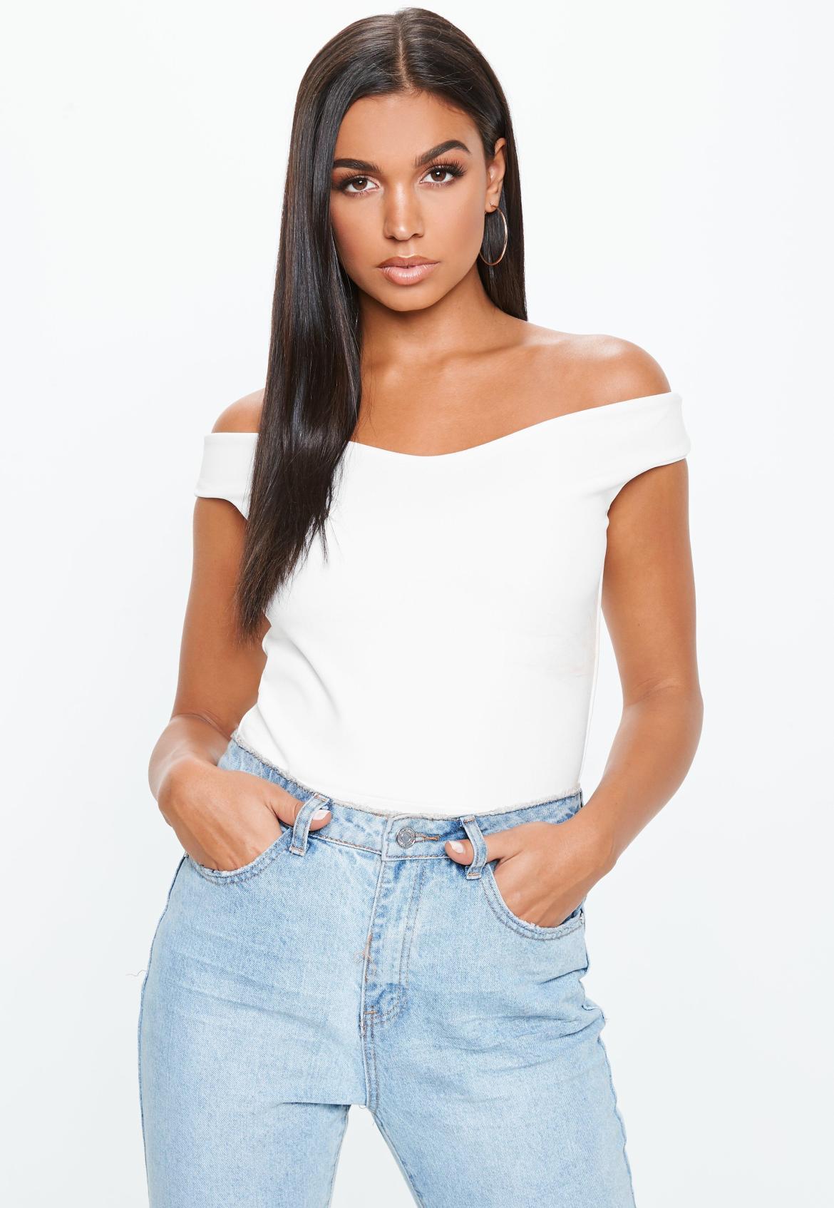 Bardot Crepe Bodysuit White