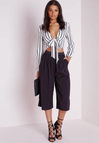 Bell Sleeve Stripe Tie Front Crop Top White - Stripe ...