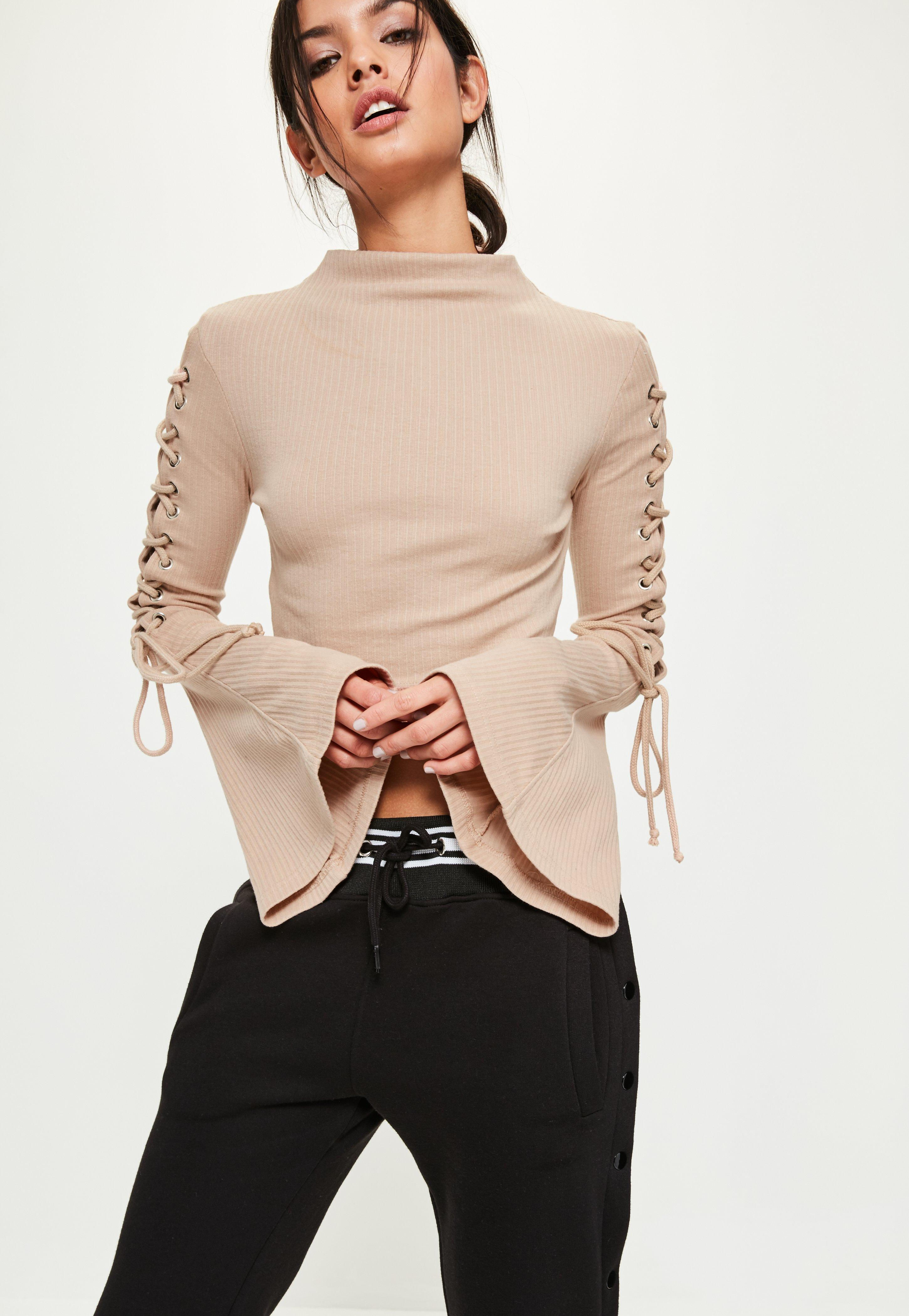 Grey Lace Up Flared Sleeve Ribbed Crop Top  Missguided