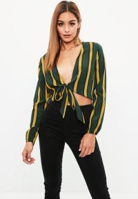 Green Stripe Tie Front Crop Top | Missguided