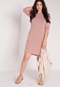 Plus Size Long Sleeve Bodycon Dress Pink | Missguided