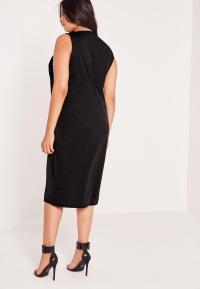 Plus Size Sleeveless V Neck Bodycon Dress Black | Missguided