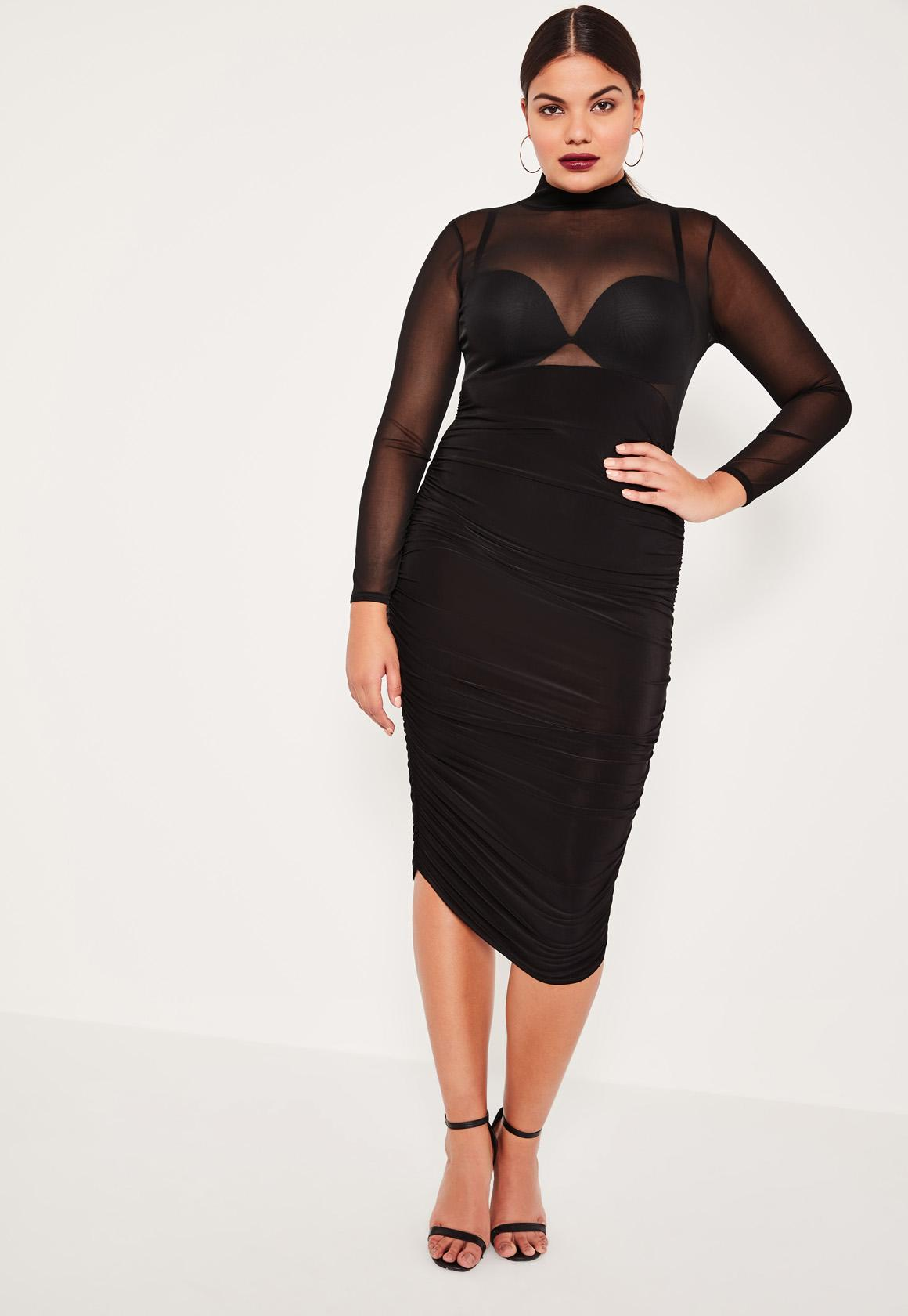 Plus Size Black Mesh Insert Ruched Midi Dress  Missguided