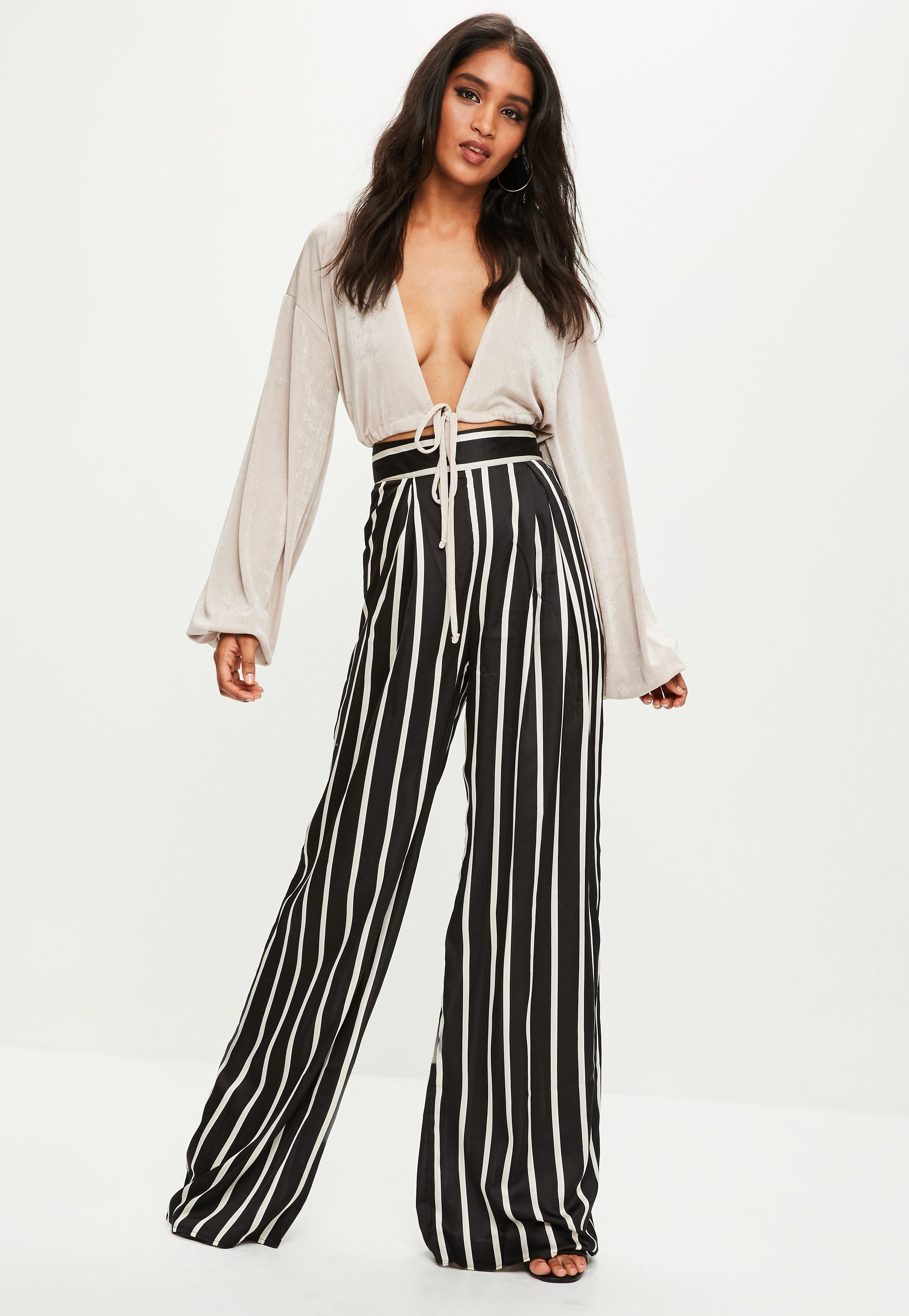 Tall Black Striped Wide Leg Pants Missguided