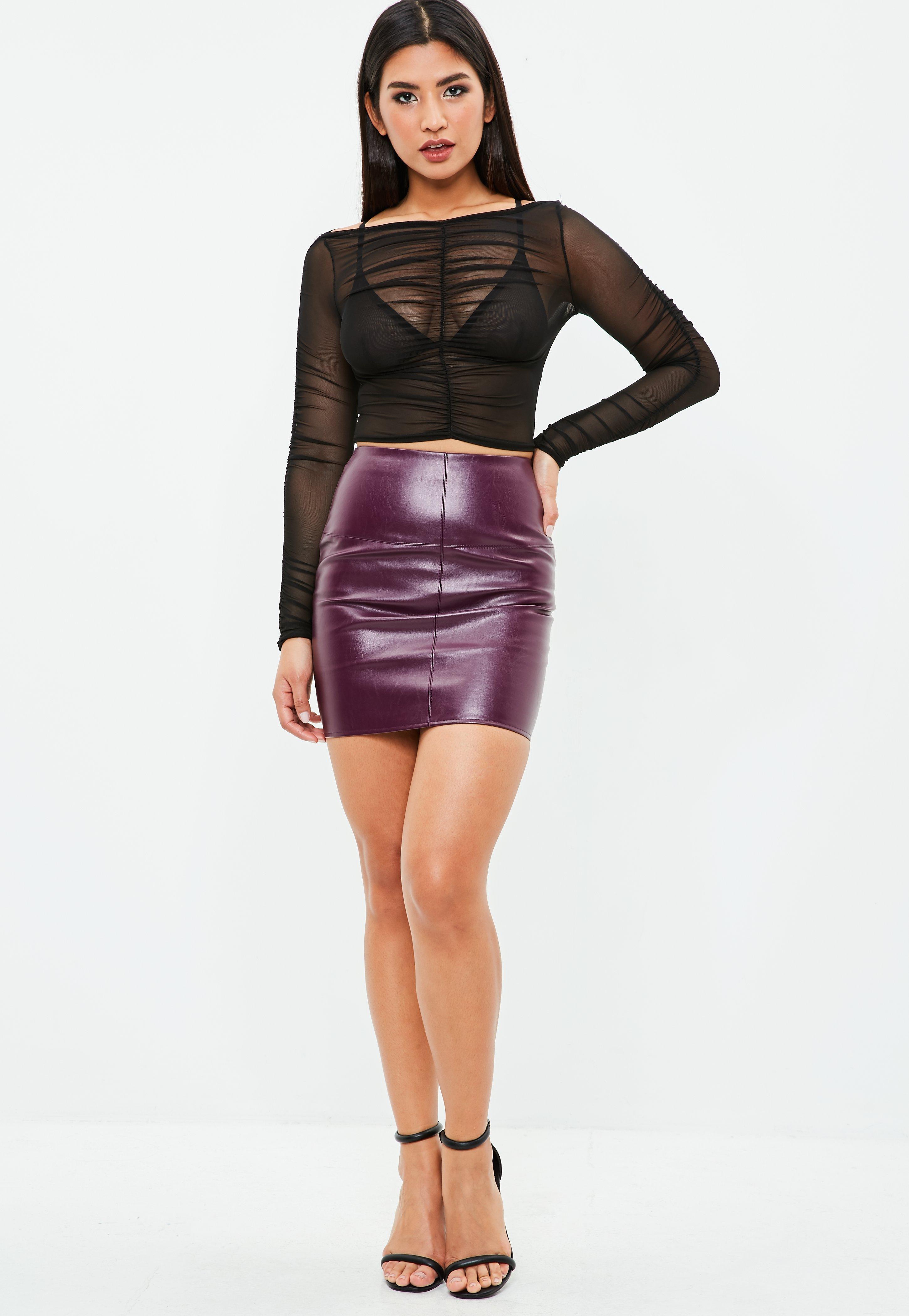 purple faux leather skirt