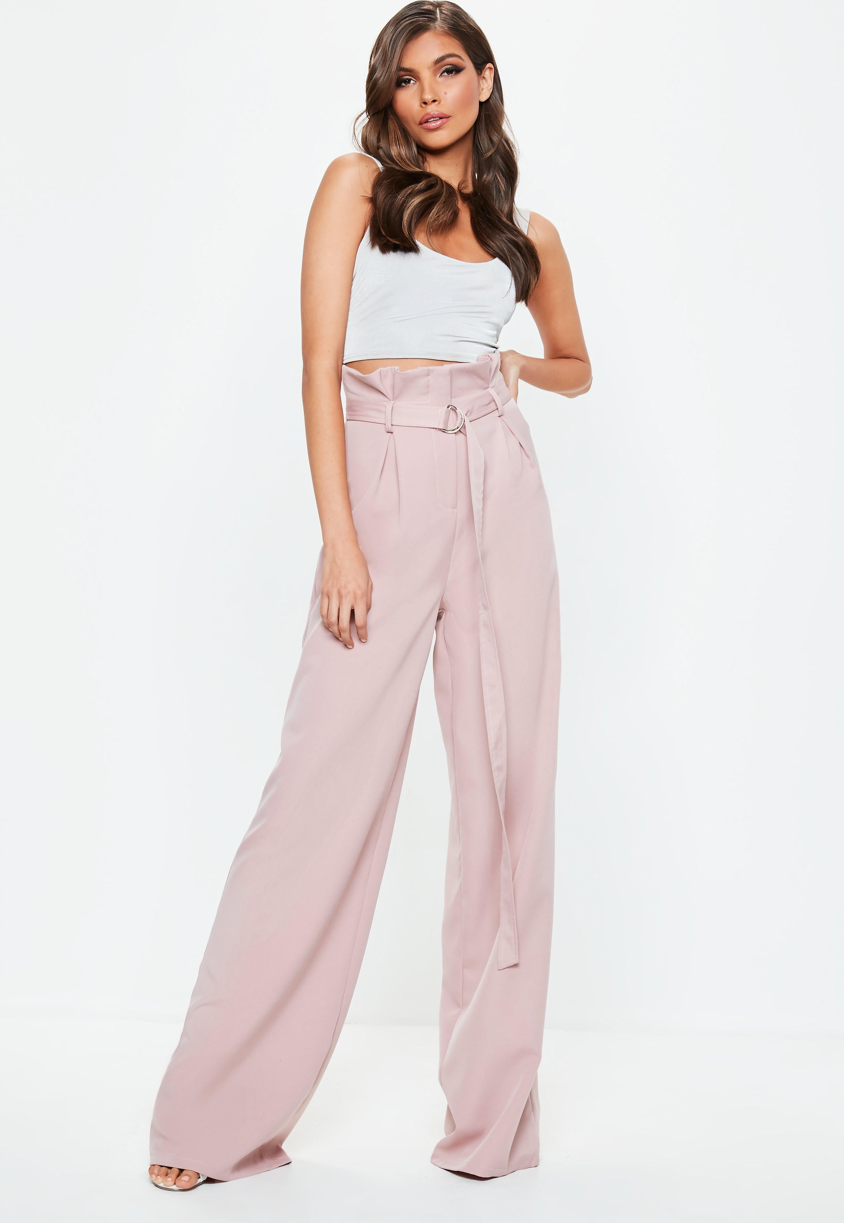 Tall Paperbag MarleneHose mit Grtel in Rosa  Missguided