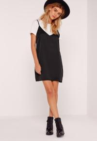 Petite T-shirt Insert Cami Dress Black | Missguided