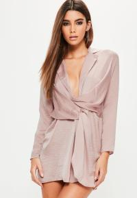 Petite Purple Satin Wrap Plunge Dress | Missguided