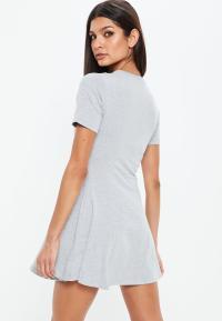 Petite Grey Short Sleeve Flippy Dress | Missguided
