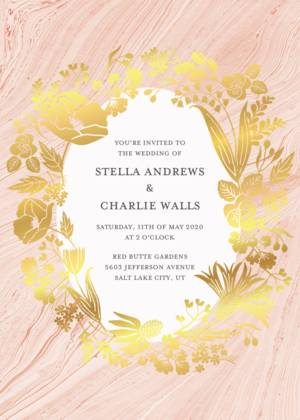 Foil Stamped Wedding Invitations Foiled Pressed Gold And Rose