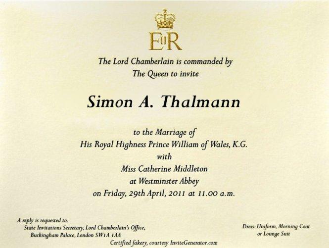 Royal Wedding With An Invitation
