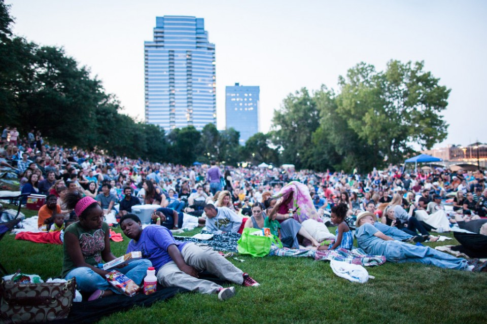 Moviegoers gather at Ah-Nab-Awen Park for a showing of Top Gun on Friday, August 8, 2014.