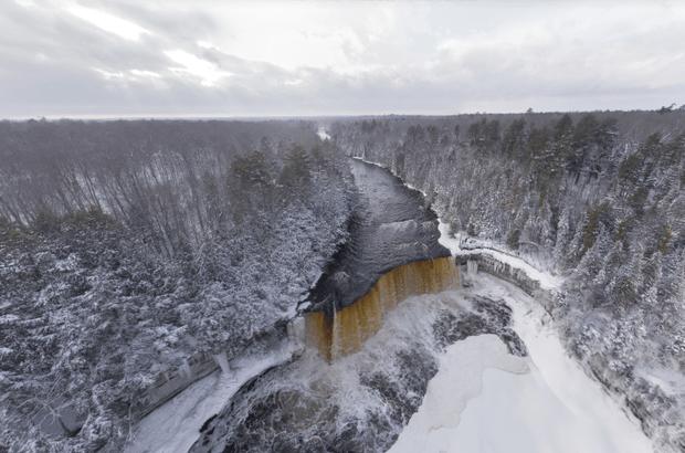 Pure Michigan Fall Wallpaper Tahquamenon Falls Aerial Panorama Proves Beauty Of