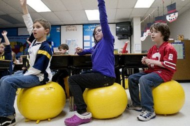 ball chairs for students hanging chair cocoon lake fenton exercise attention span body with inspired video