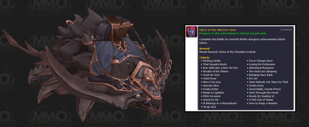 medium resolution of glory of the wartorn hero complete the battle for azeroth mythic dungeon achievements rewards reins of the obsidian krolusk mount